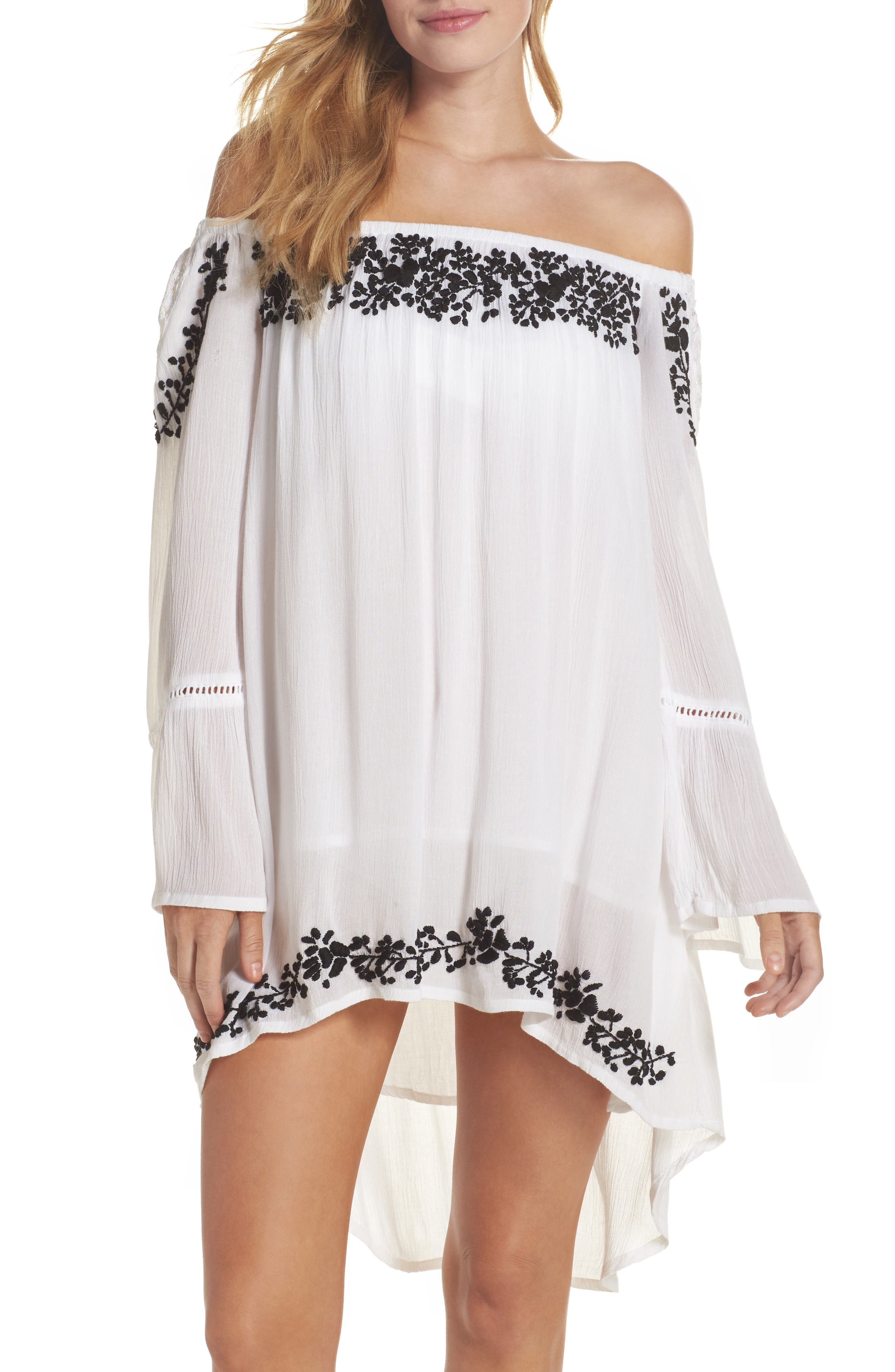 Cleopatra Off the Shoulder Cover-Up Dress,                         Main,                         color, White