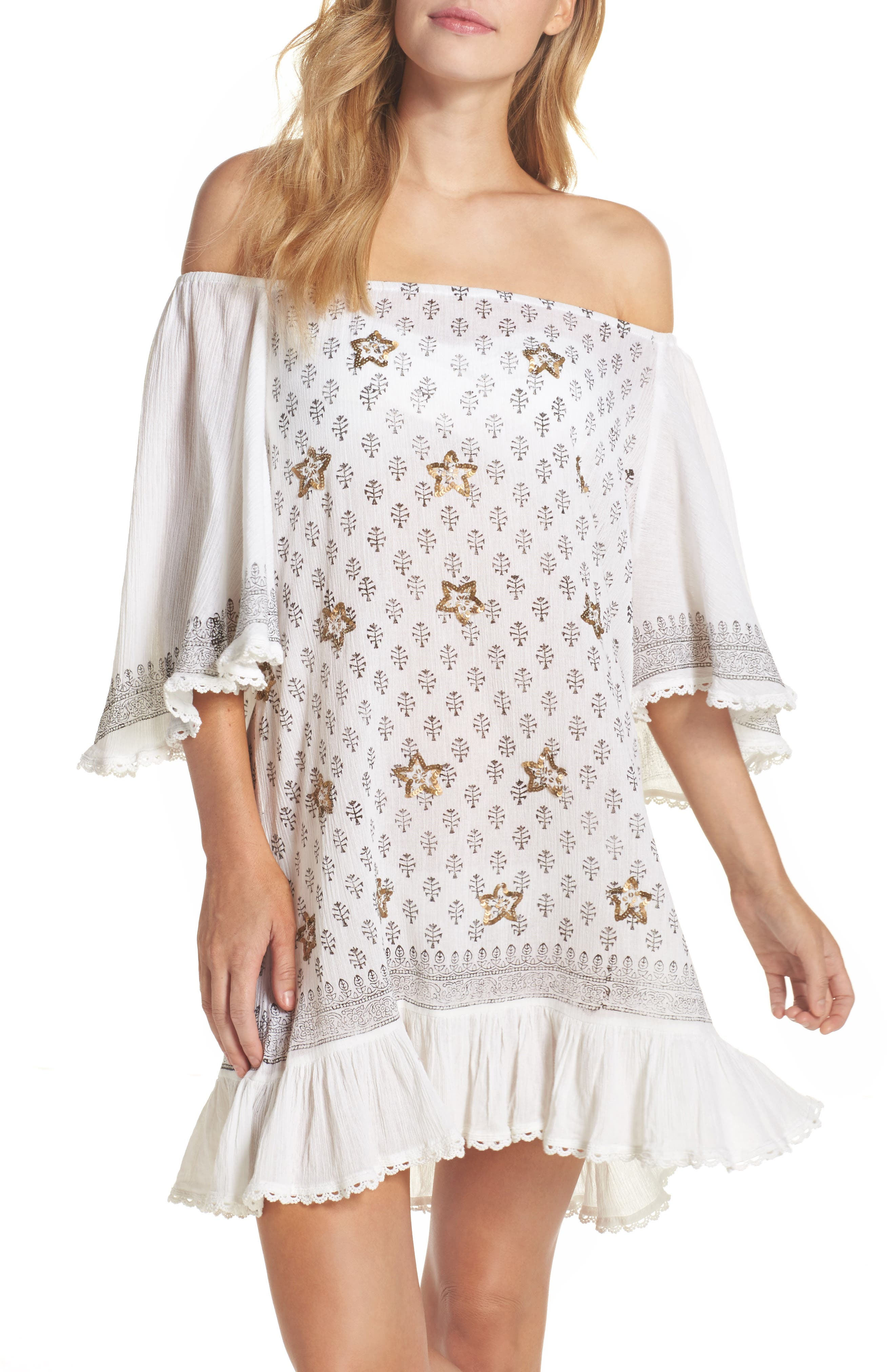 Dreamer Off the Shoulder Cover-Up Dress,                             Main thumbnail 1, color,                             White