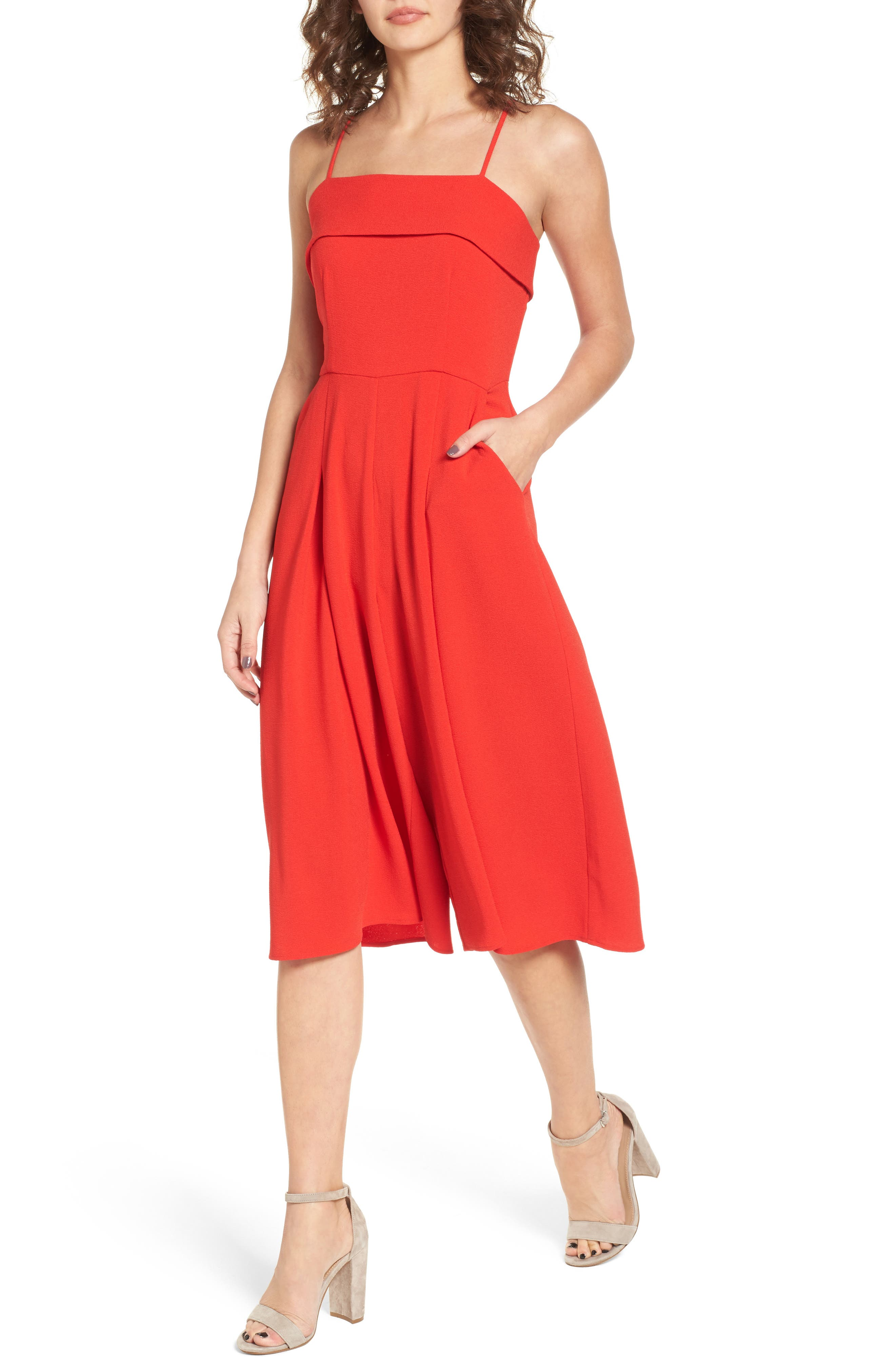 Wide Leg Jumpsuit,                         Main,                         color, Red
