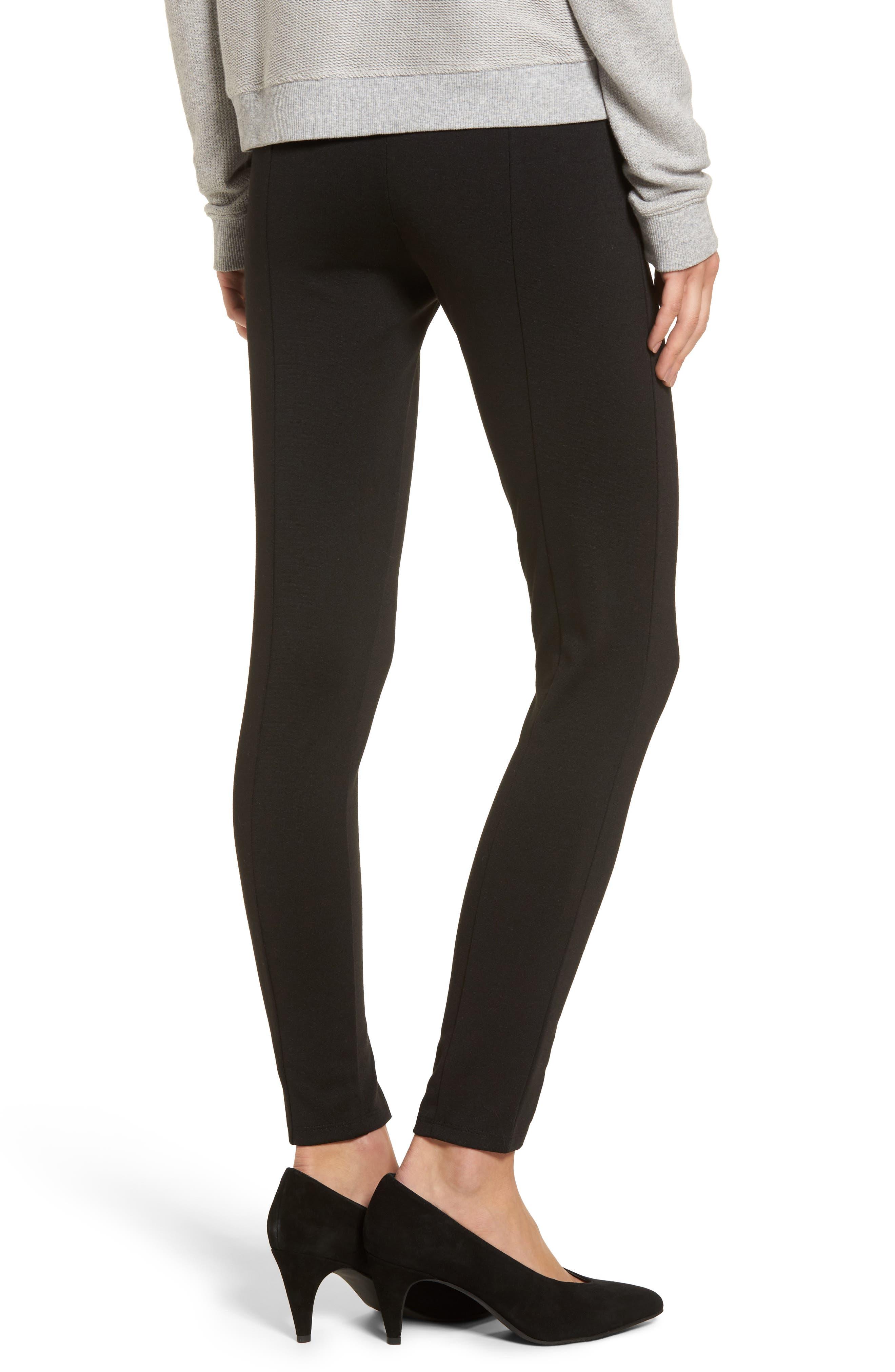 High-Waist Ankle Zip Leggings,                             Alternate thumbnail 2, color,                             Black