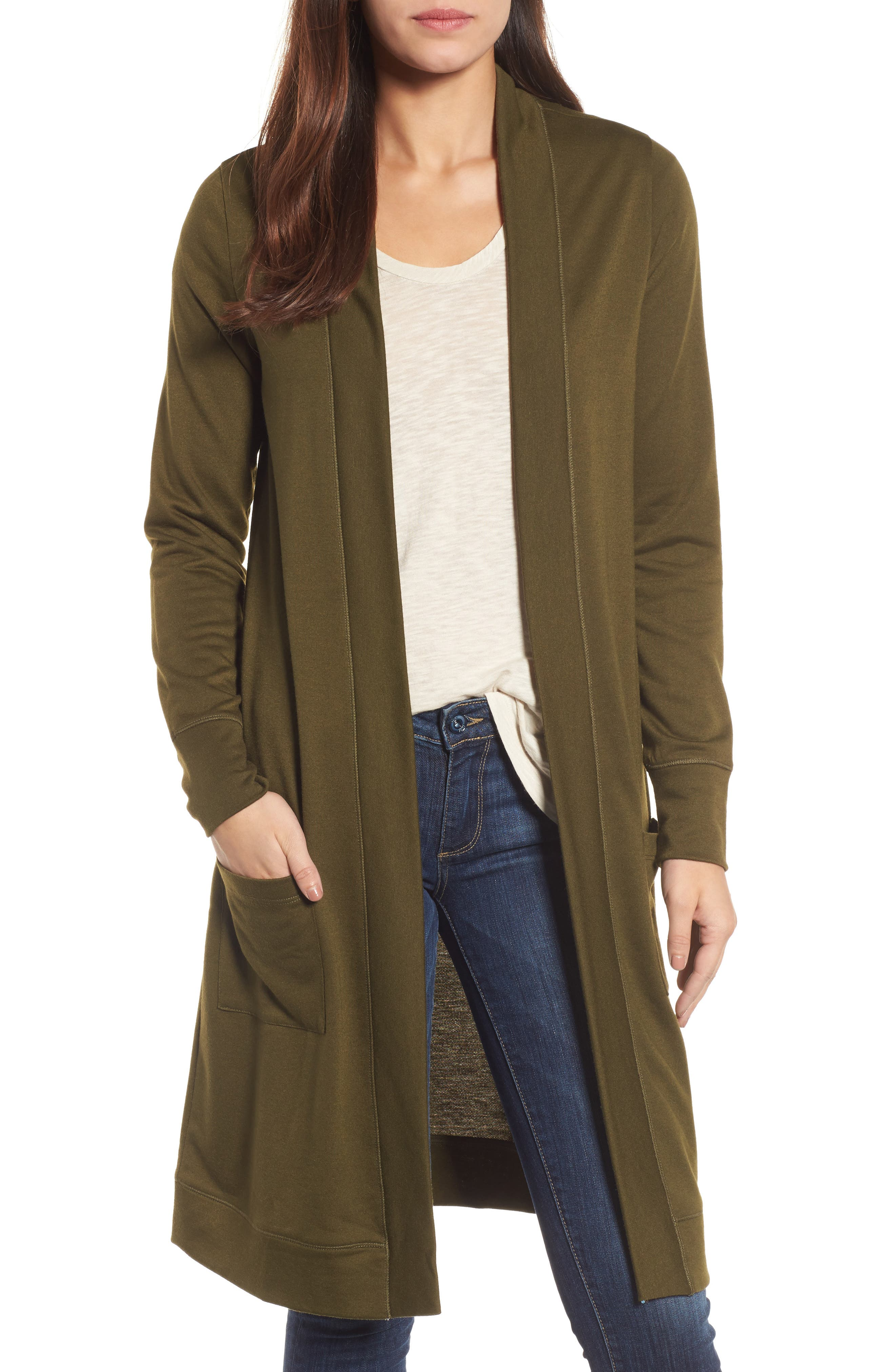 Long French Terry Cardigan,                         Main,                         color, Olive