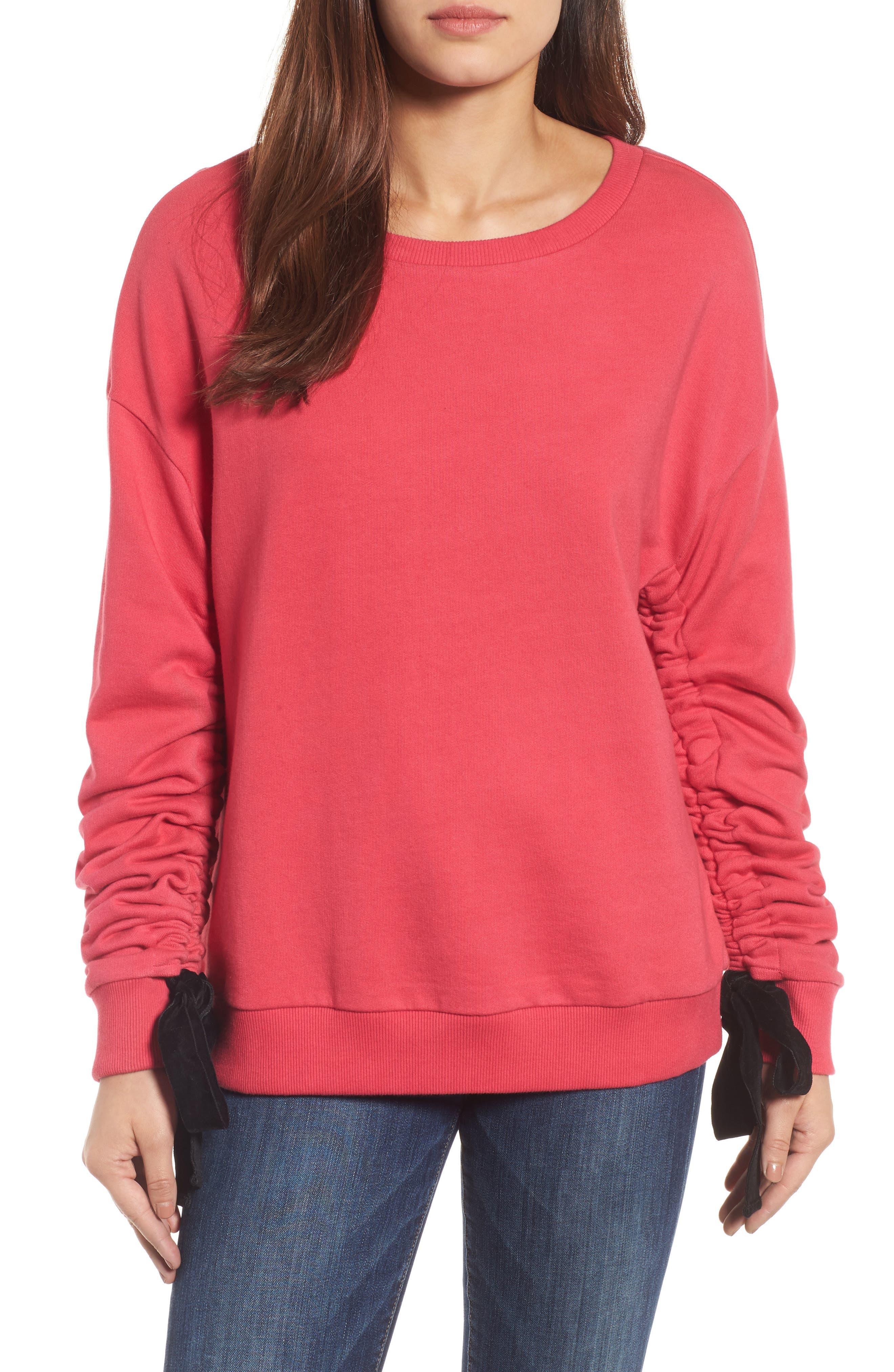 Halogen® Ruched Tie Sleeve Sweatshirt (Regular & Petite)