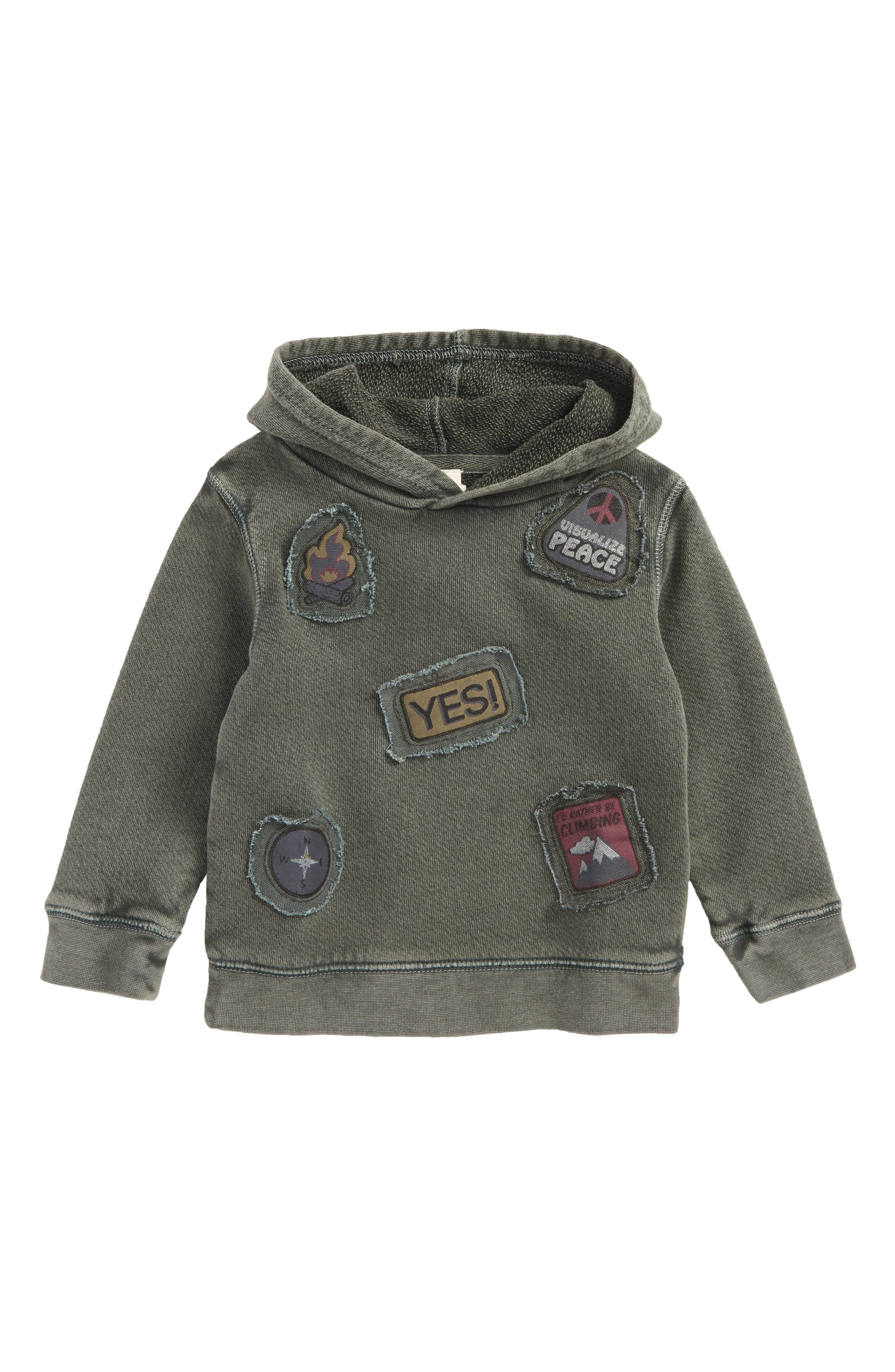 Patches Hoodie,                         Main,                         color, Olive Sarma Patches