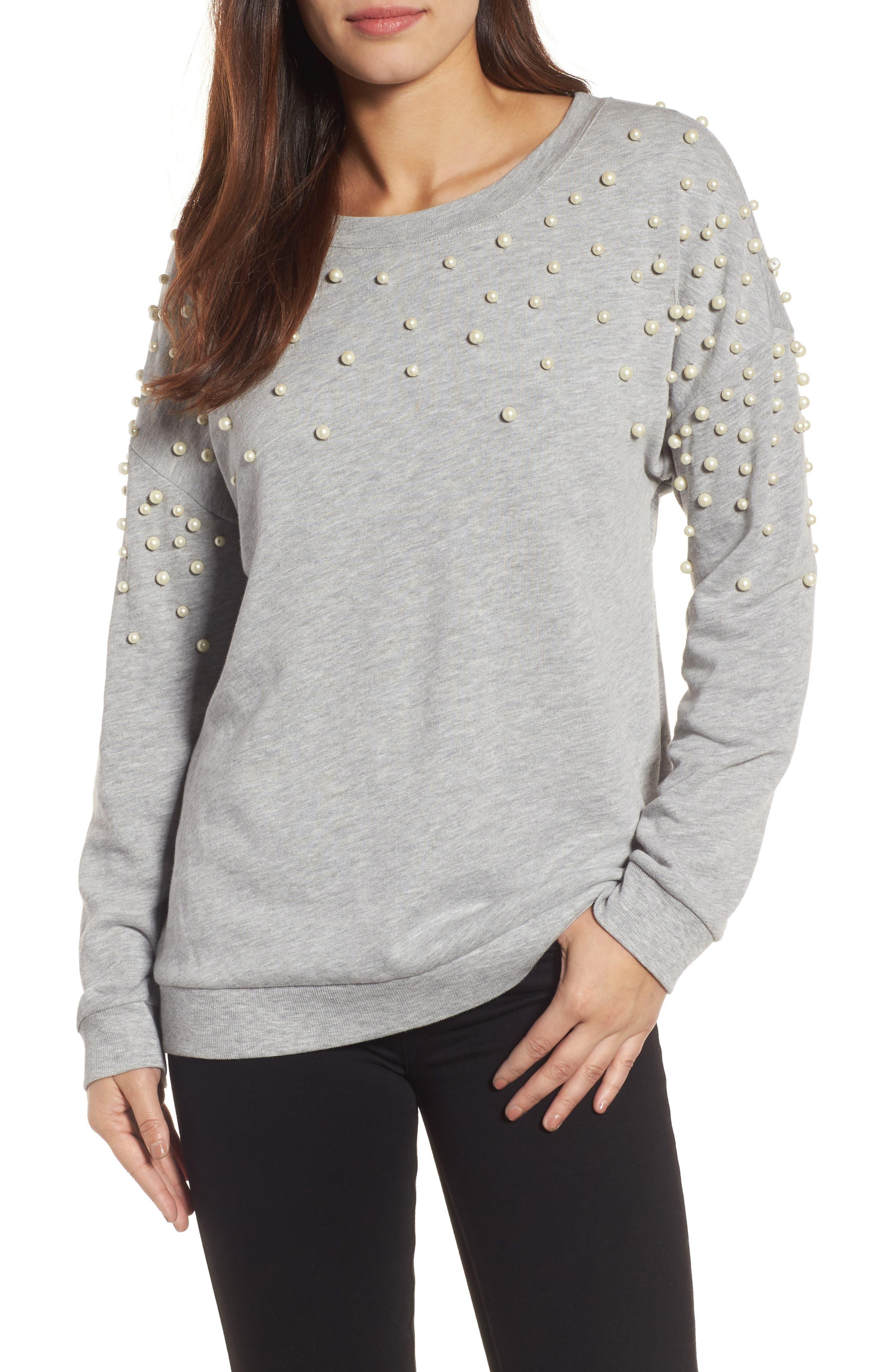 Main Image - Halogen® Beaded Sweatshirt (Regular & Petite)