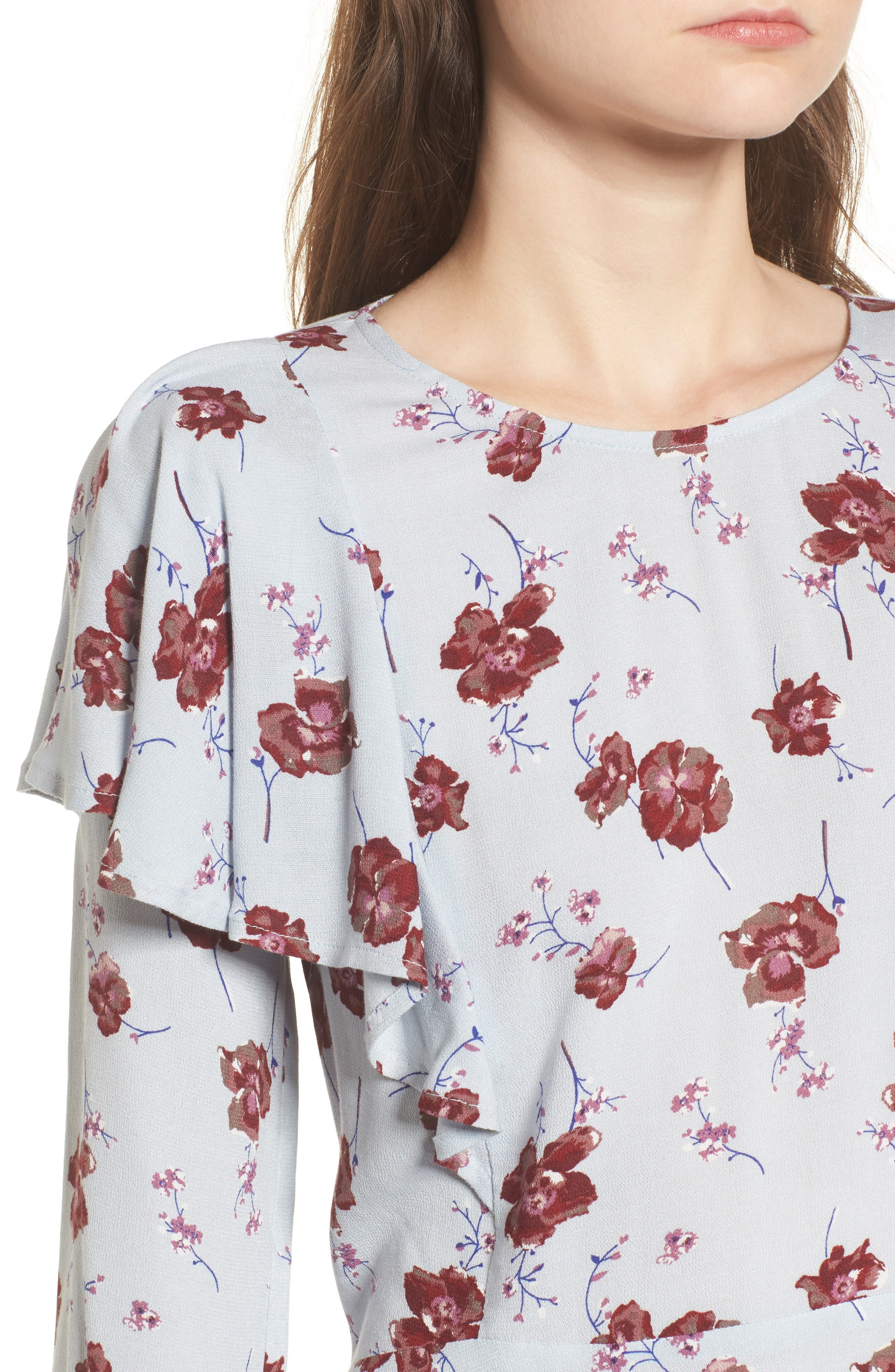 Floral Print Ruffle Blouse,                             Alternate thumbnail 4, color,                             Blue Pearl Meadow Floral