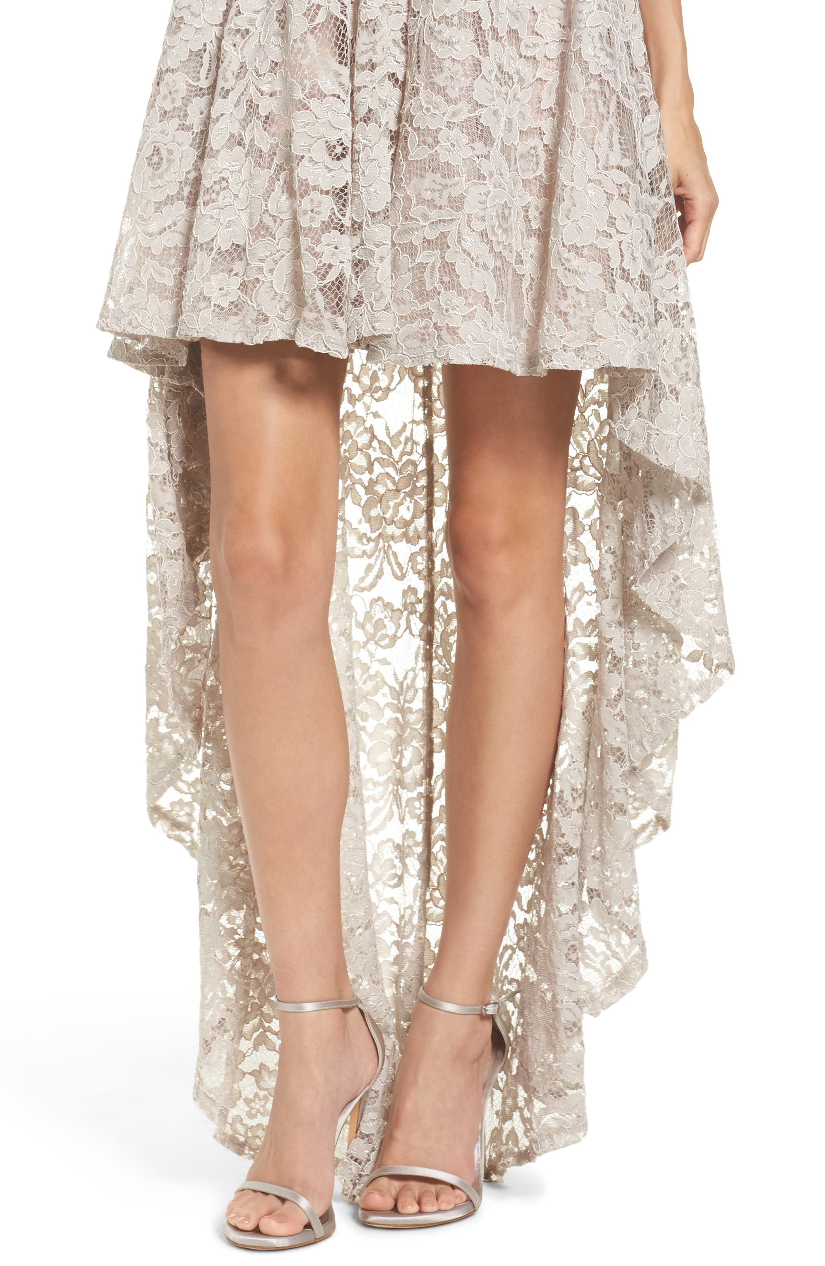 Alternate Image 4  - Sequin Hearts Strapless Lace High/Low Dress
