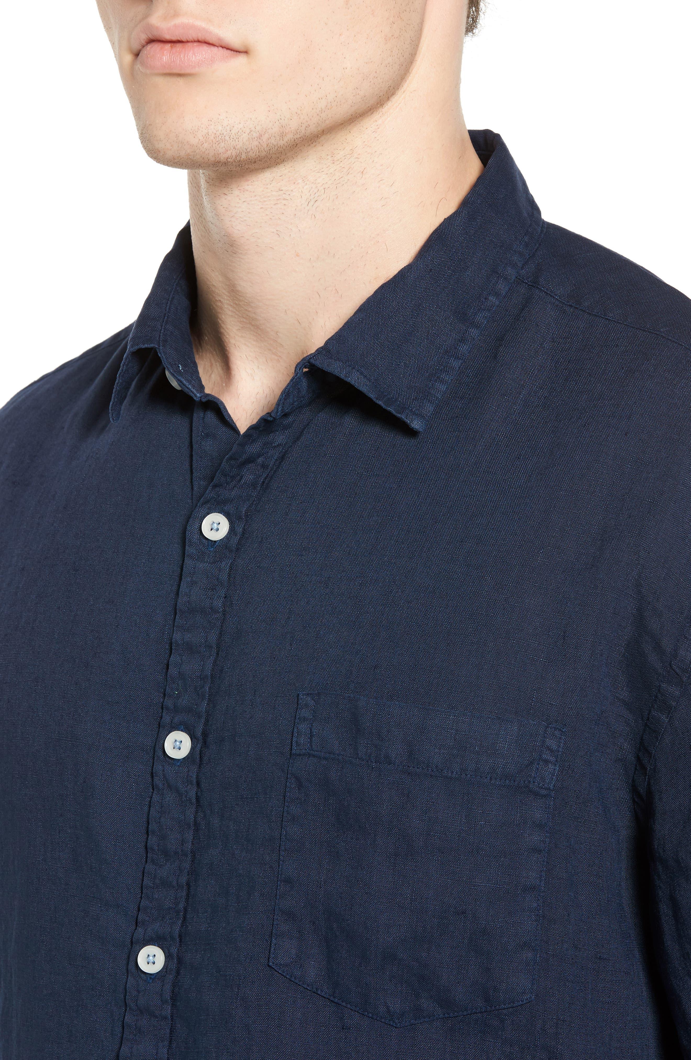 Alternate Image 4  - Original Paperbacks Rome Trim Fit Linen Sport Shirt