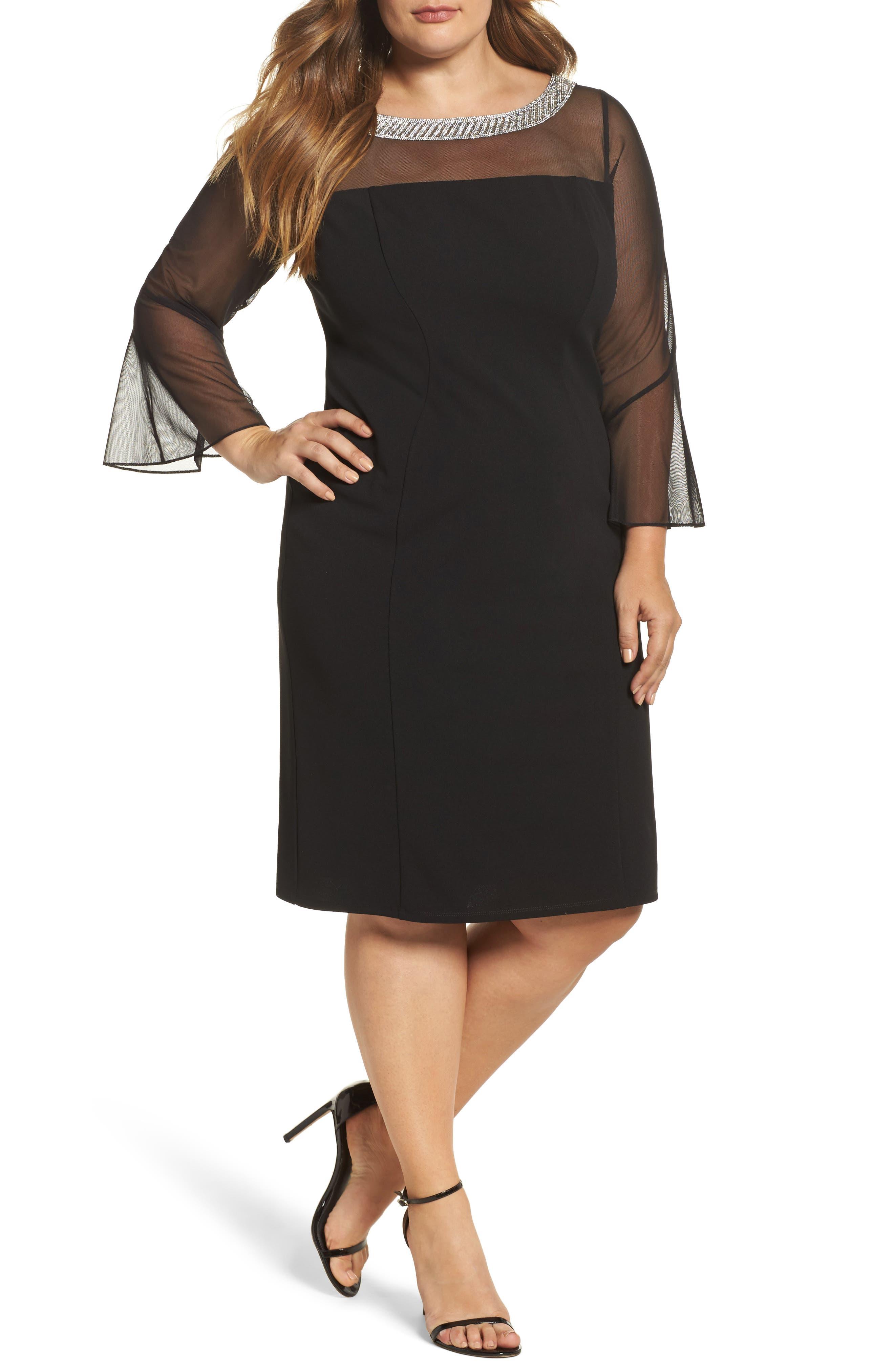 Embellished Illusion Shift Dress,                         Main,                         color, Black