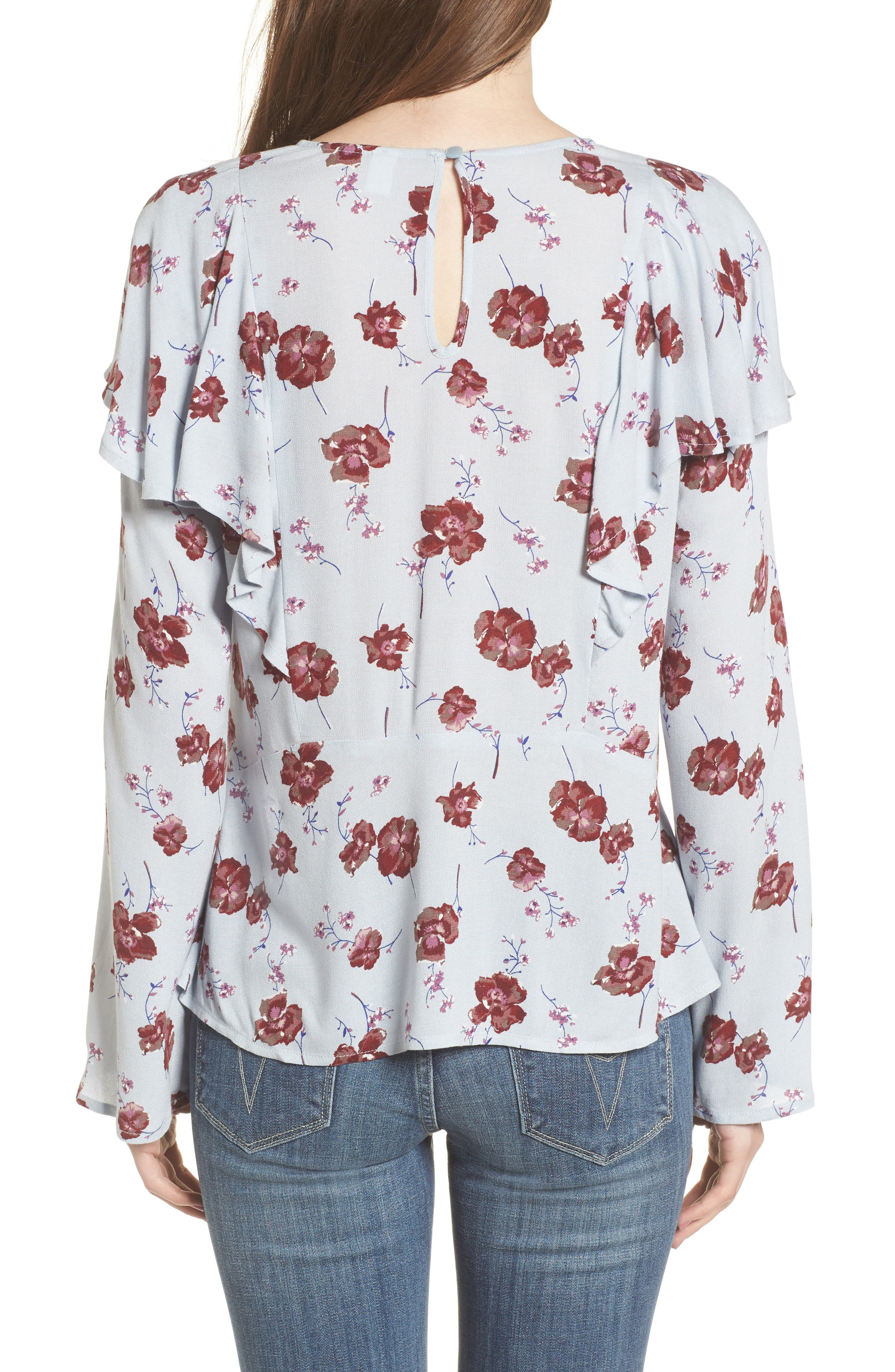 Floral Print Ruffle Blouse,                             Alternate thumbnail 2, color,                             Blue Pearl Meadow Floral