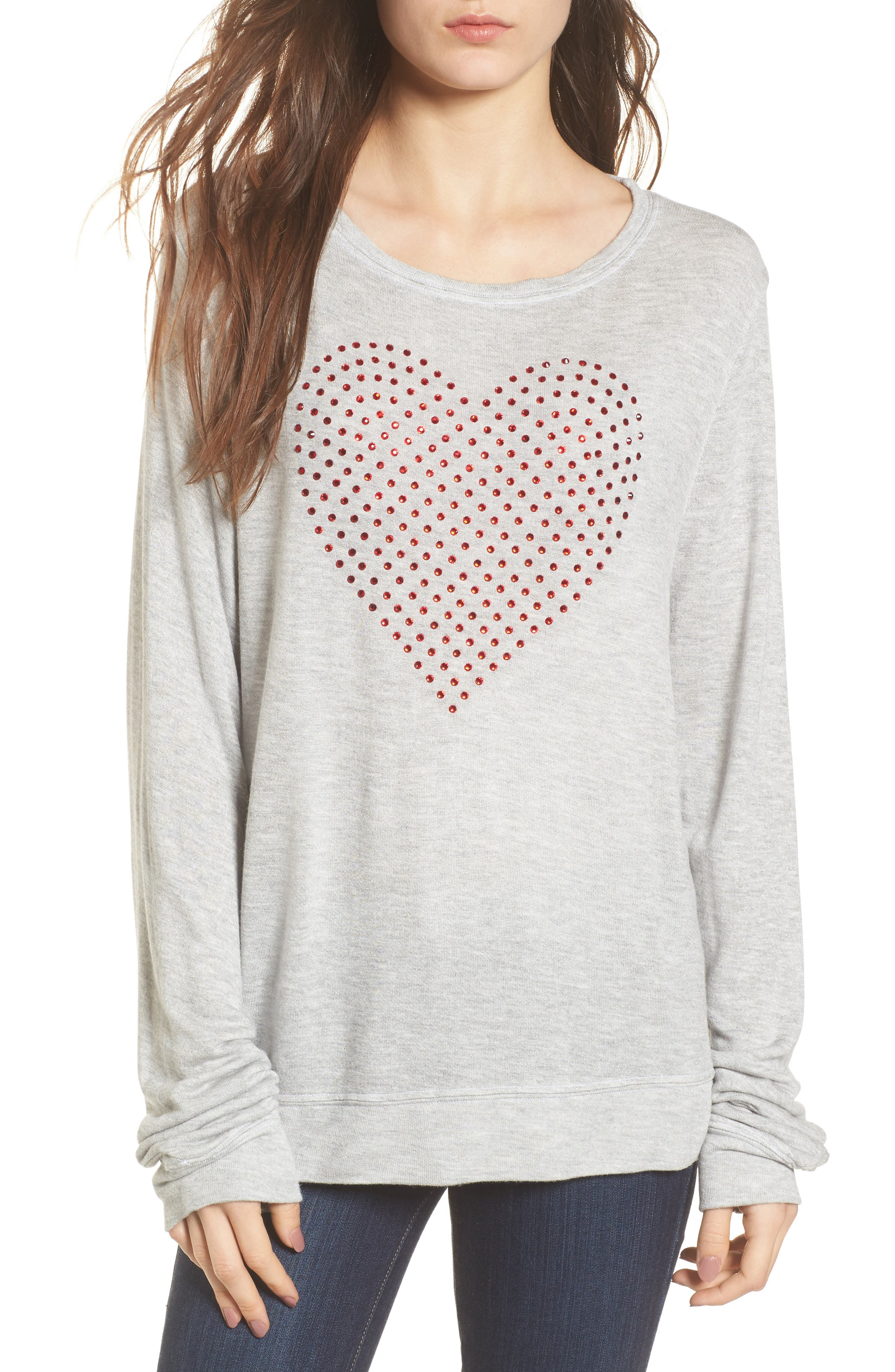 Glitz Heart Baggy Beach Pullover,                         Main,                         color, Heather