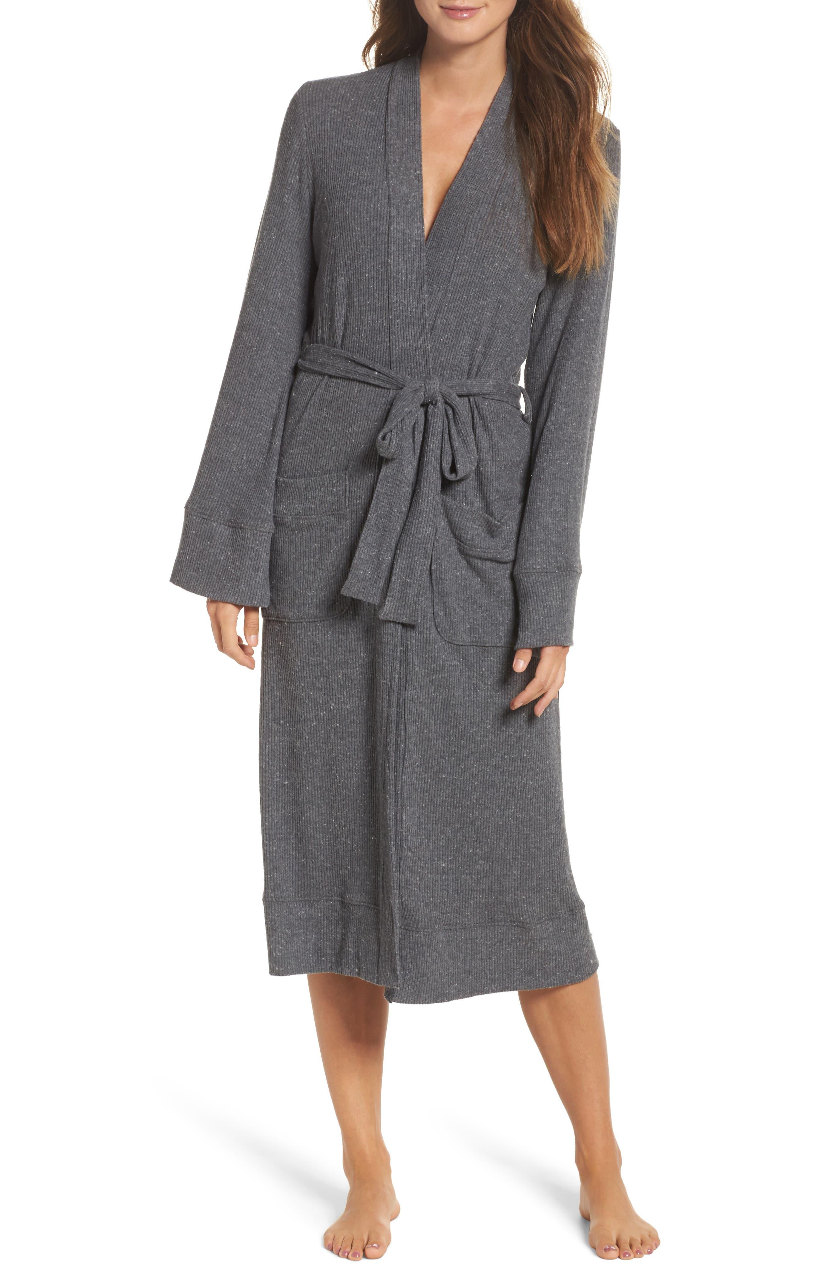 Love Knit Ribbed Robe,                         Main,                         color, Charcoal