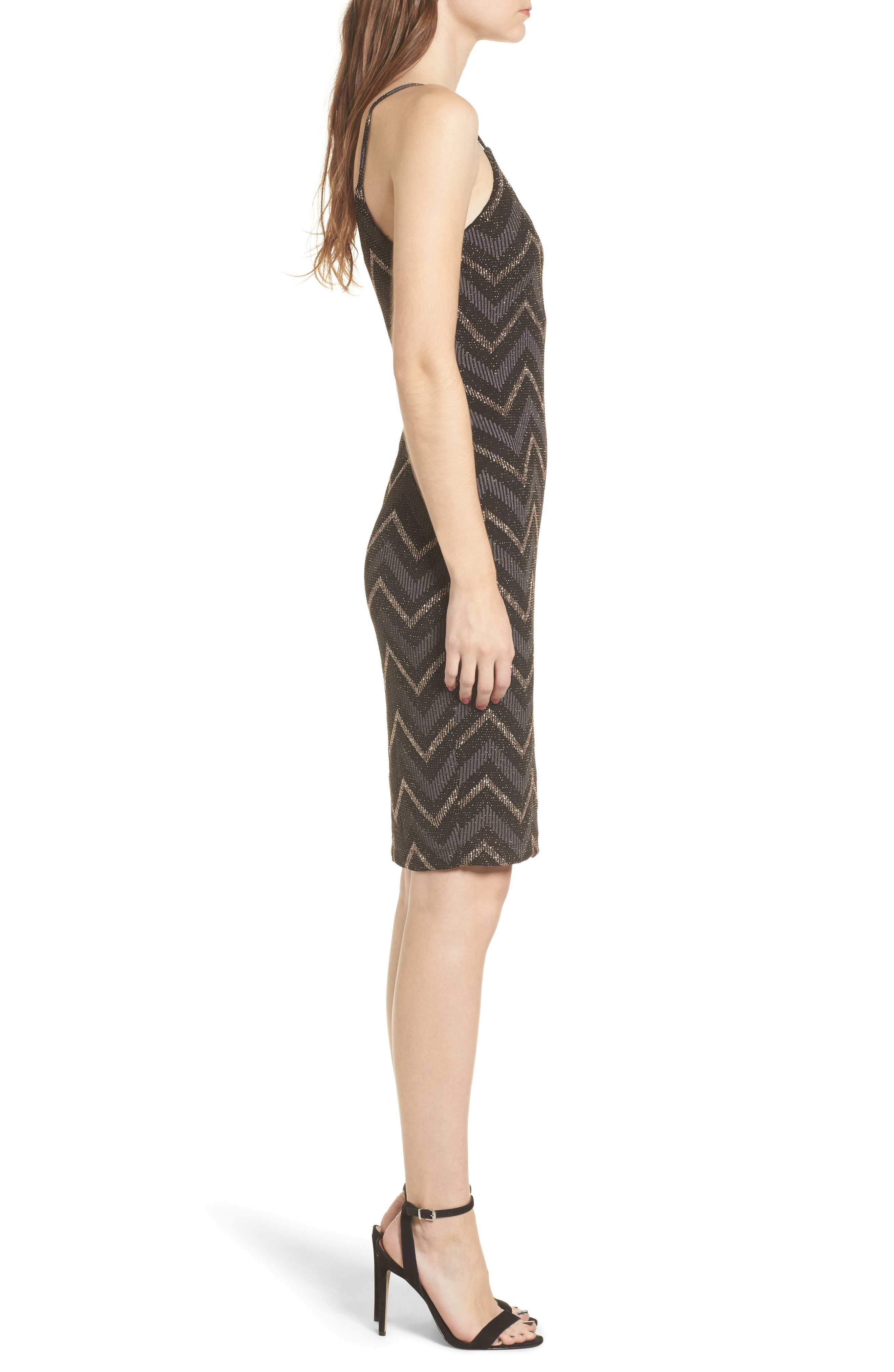 Love Nickie Lew Metallic Chevron Stripe Midi Dress,                             Alternate thumbnail 3, color,                             Black/ Copper