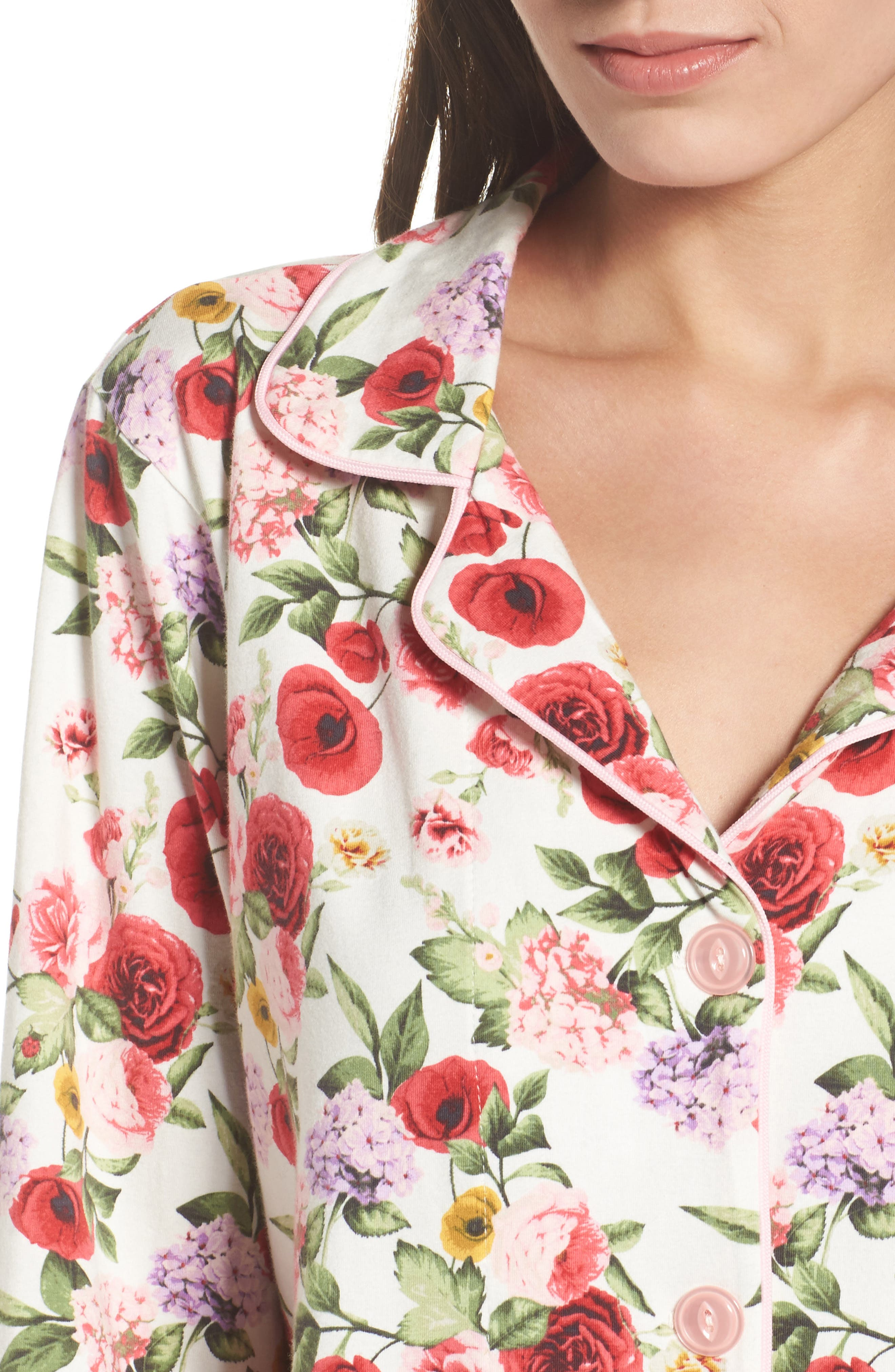 Flower Print Pajamas,                             Alternate thumbnail 5, color,                             Late Bloomers