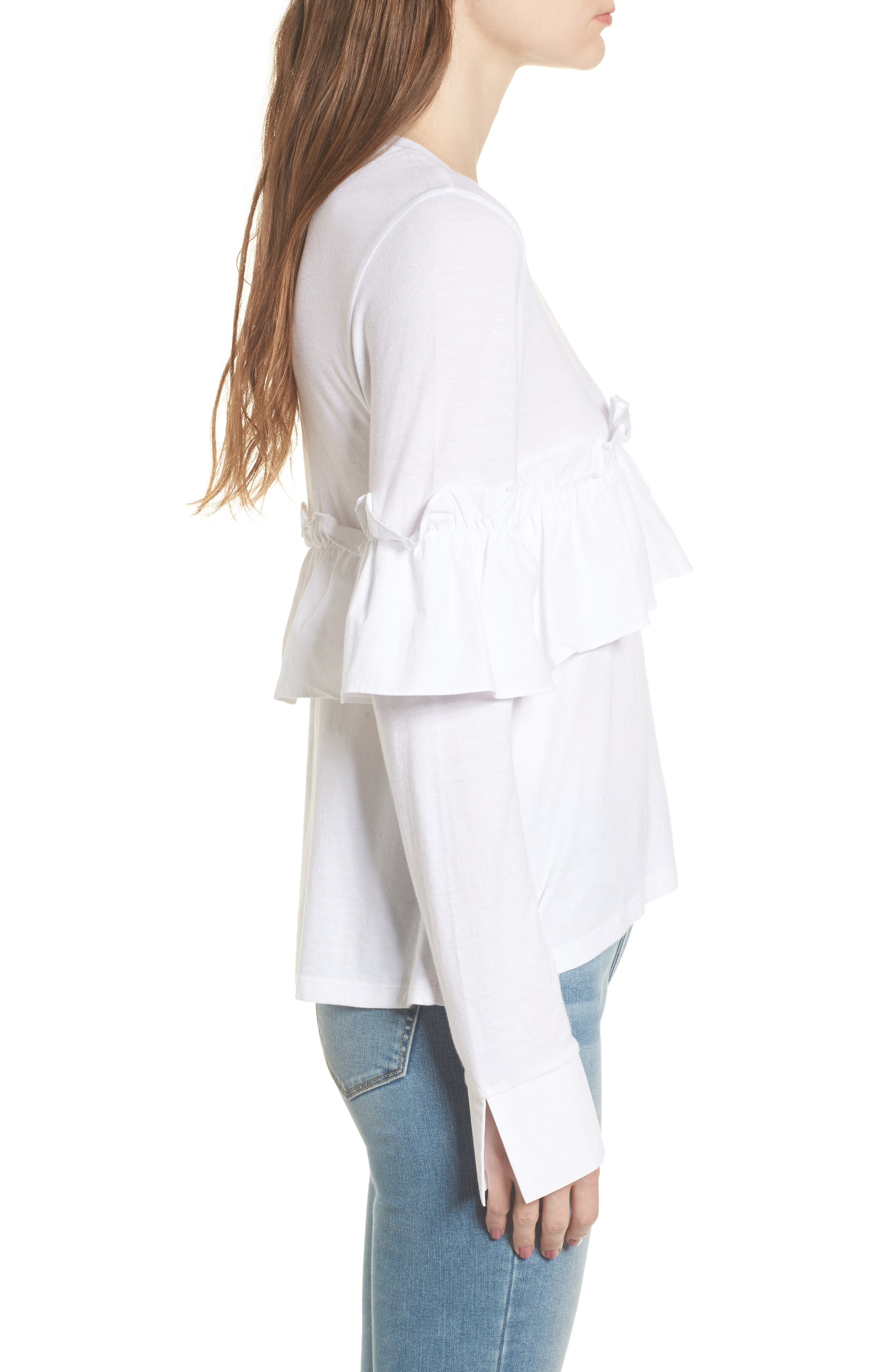 Ruffle Tee,                             Alternate thumbnail 3, color,                             White