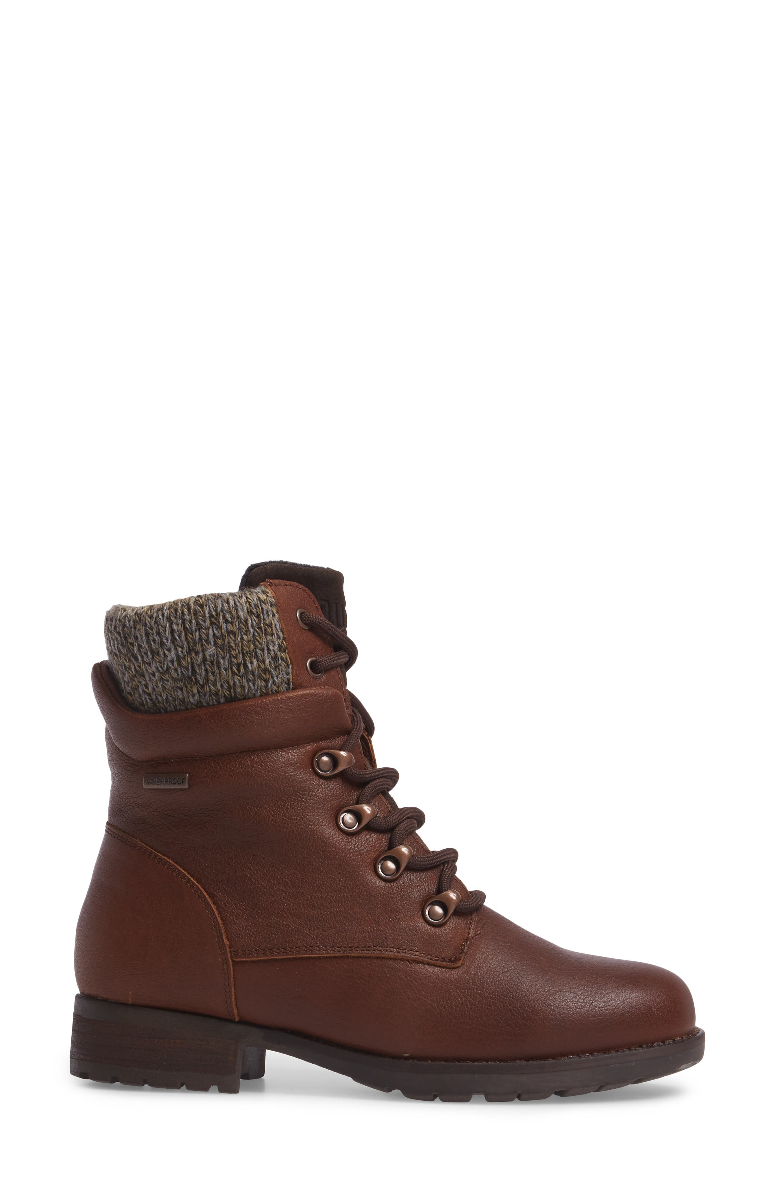Derry Waterproof Boot,                             Alternate thumbnail 3, color,                             Dark Brown Leather