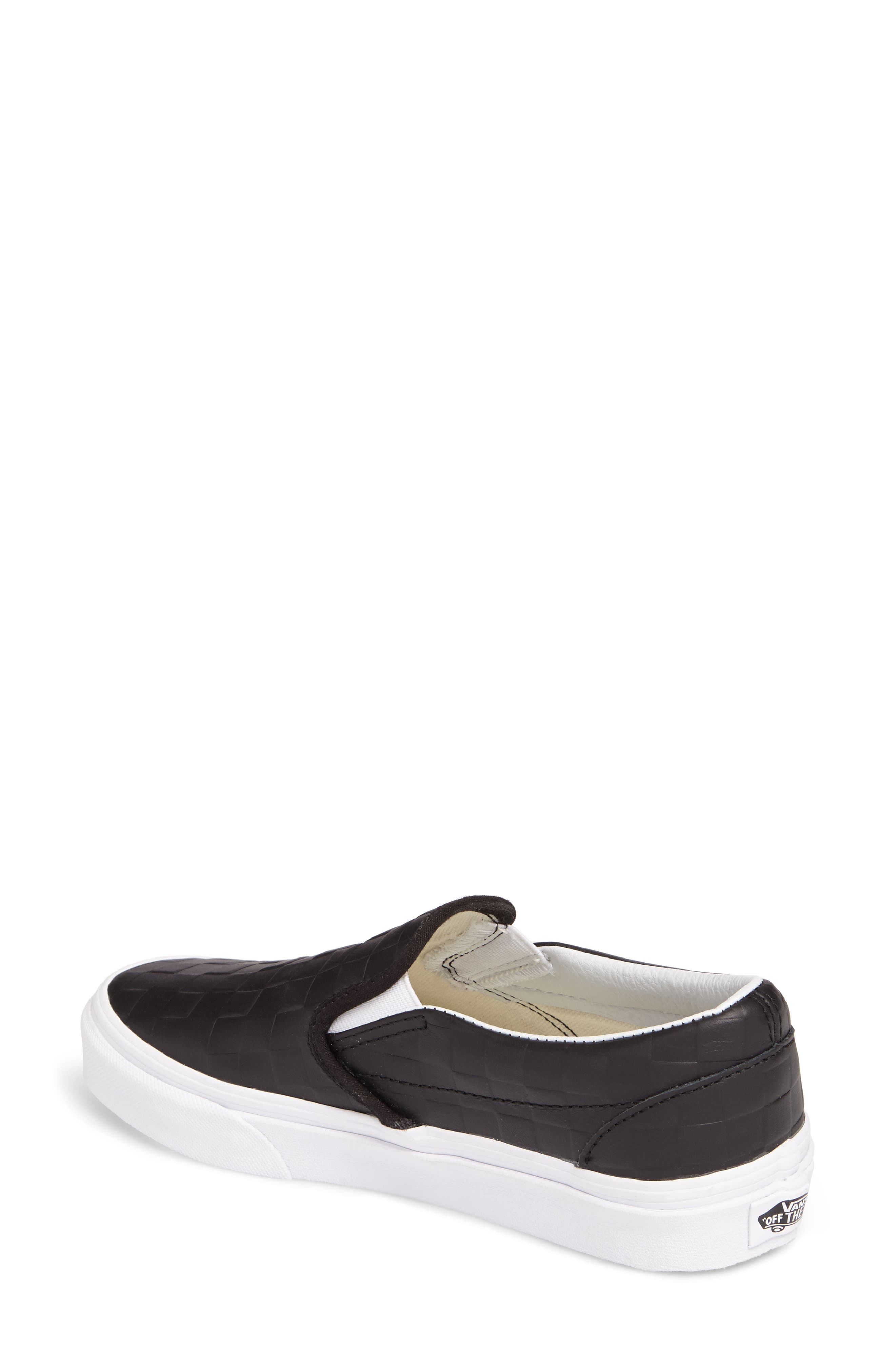 Classic Slip-On Sneaker,                             Alternate thumbnail 2, color,                             Checkerboard/ Black