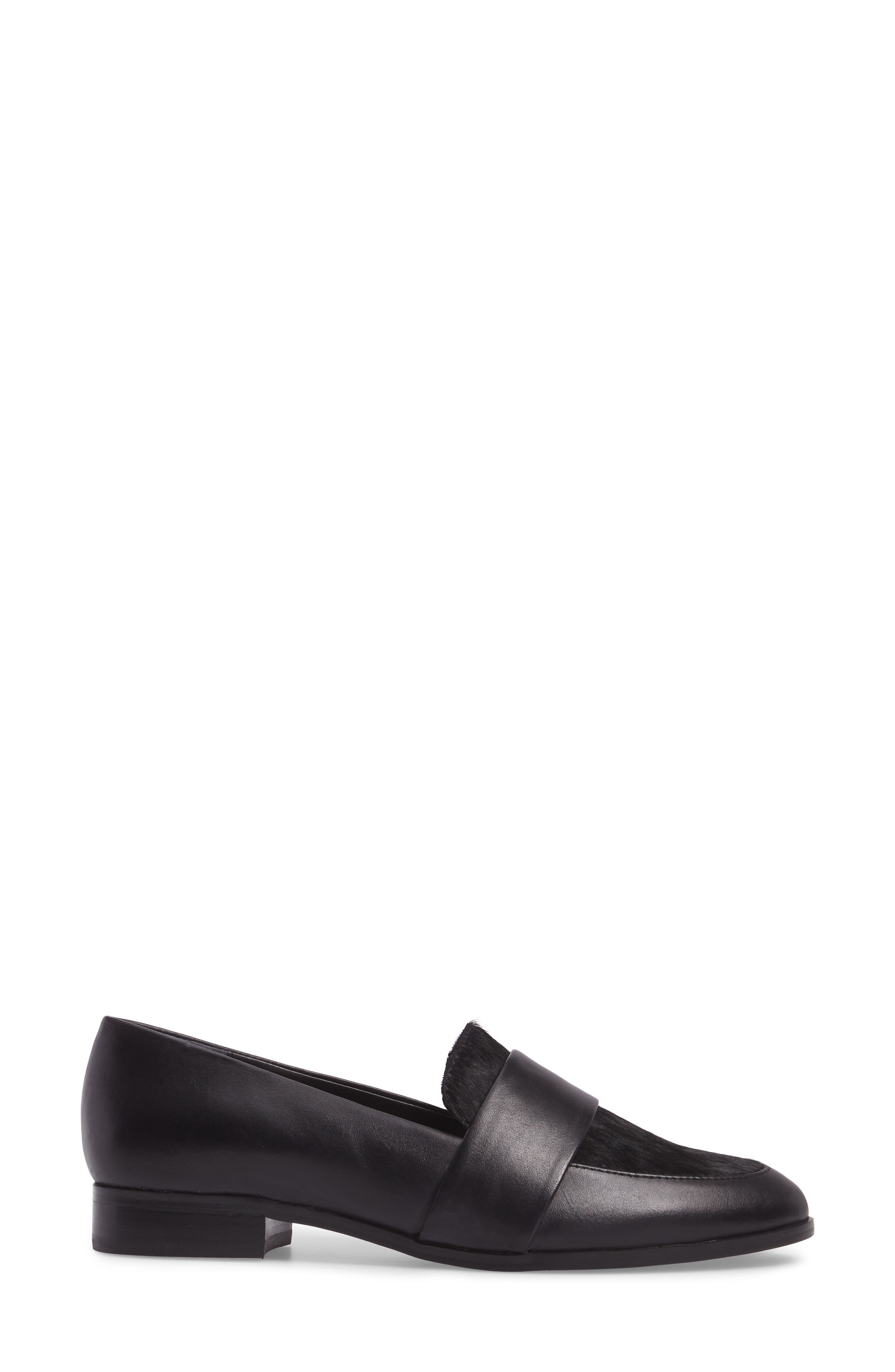 Goldie Loafer,                             Alternate thumbnail 3, color,                             Black Leather/ Calf Hair