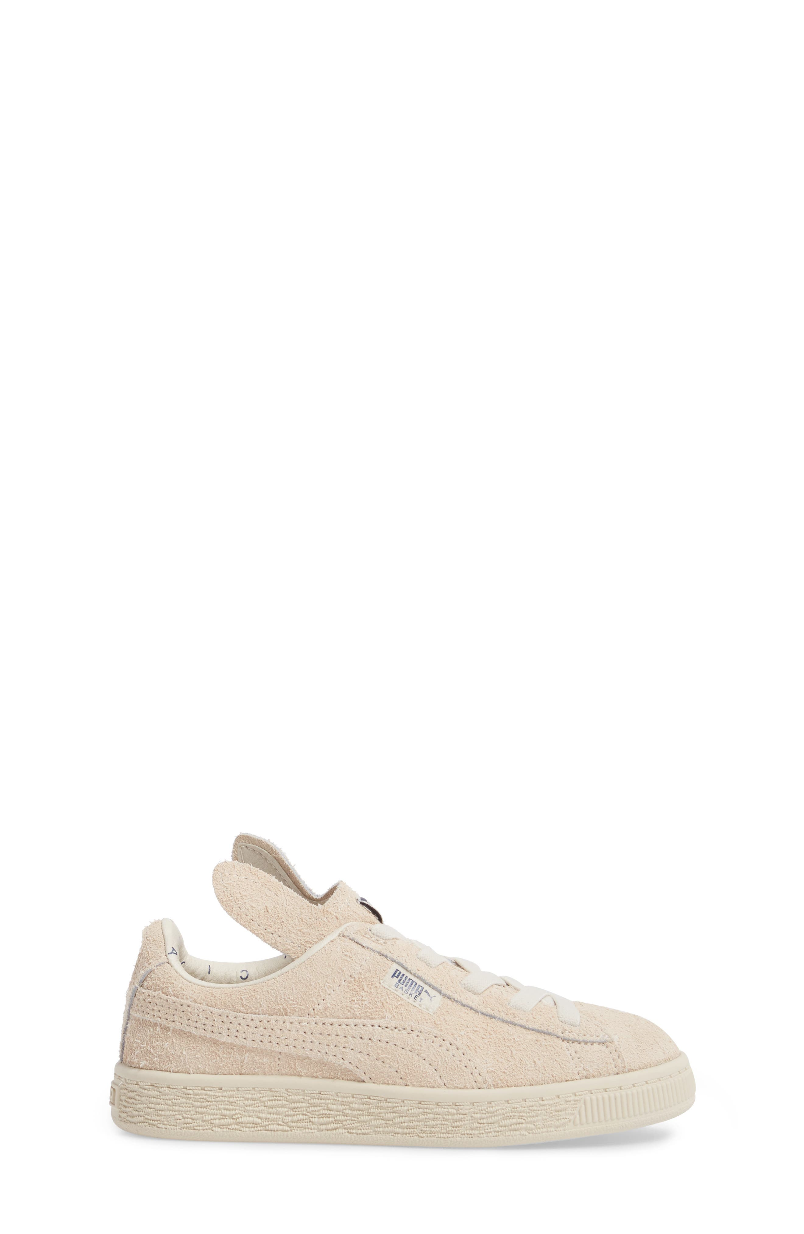 x tinycottons Basket Furry Sneaker,                             Alternate thumbnail 3, color,                             Birch/ Dress Blues