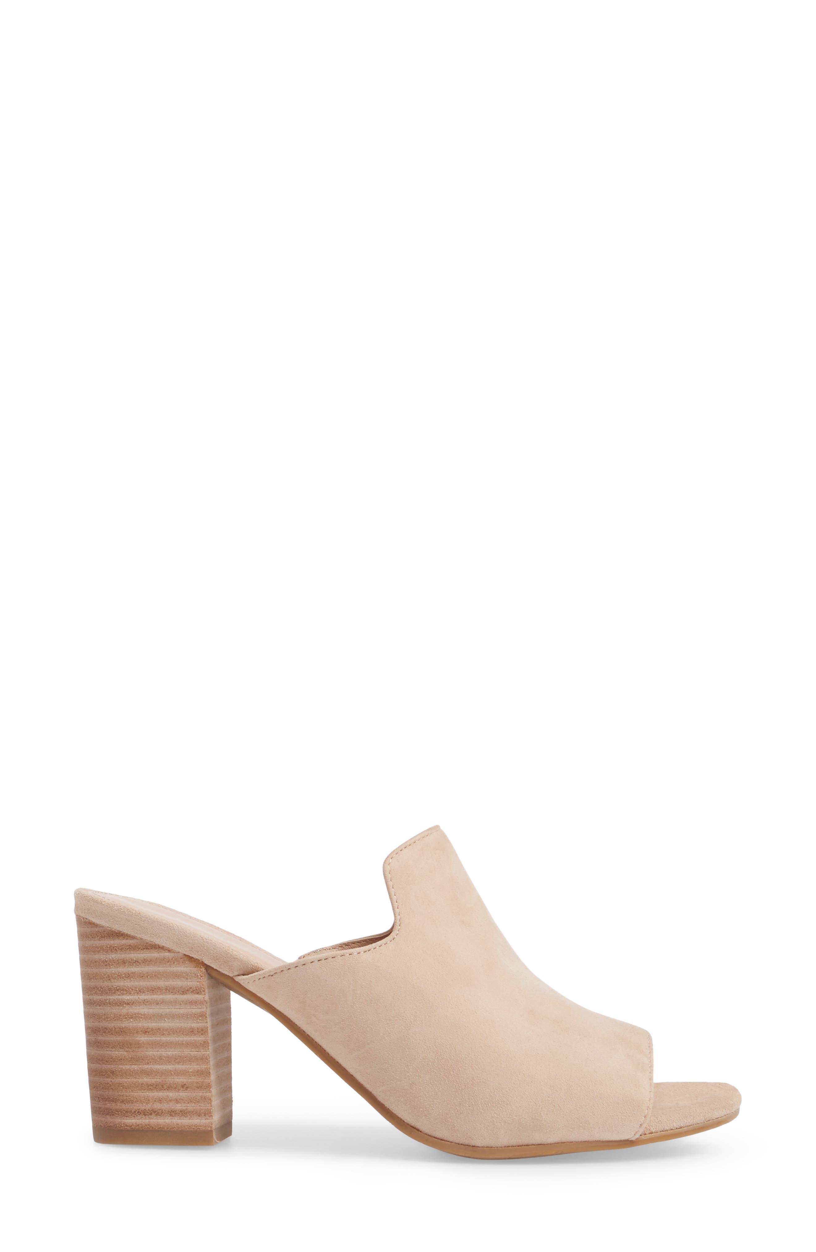 Blair Peep Toe Mule,                             Alternate thumbnail 3, color,                             Sand Leather
