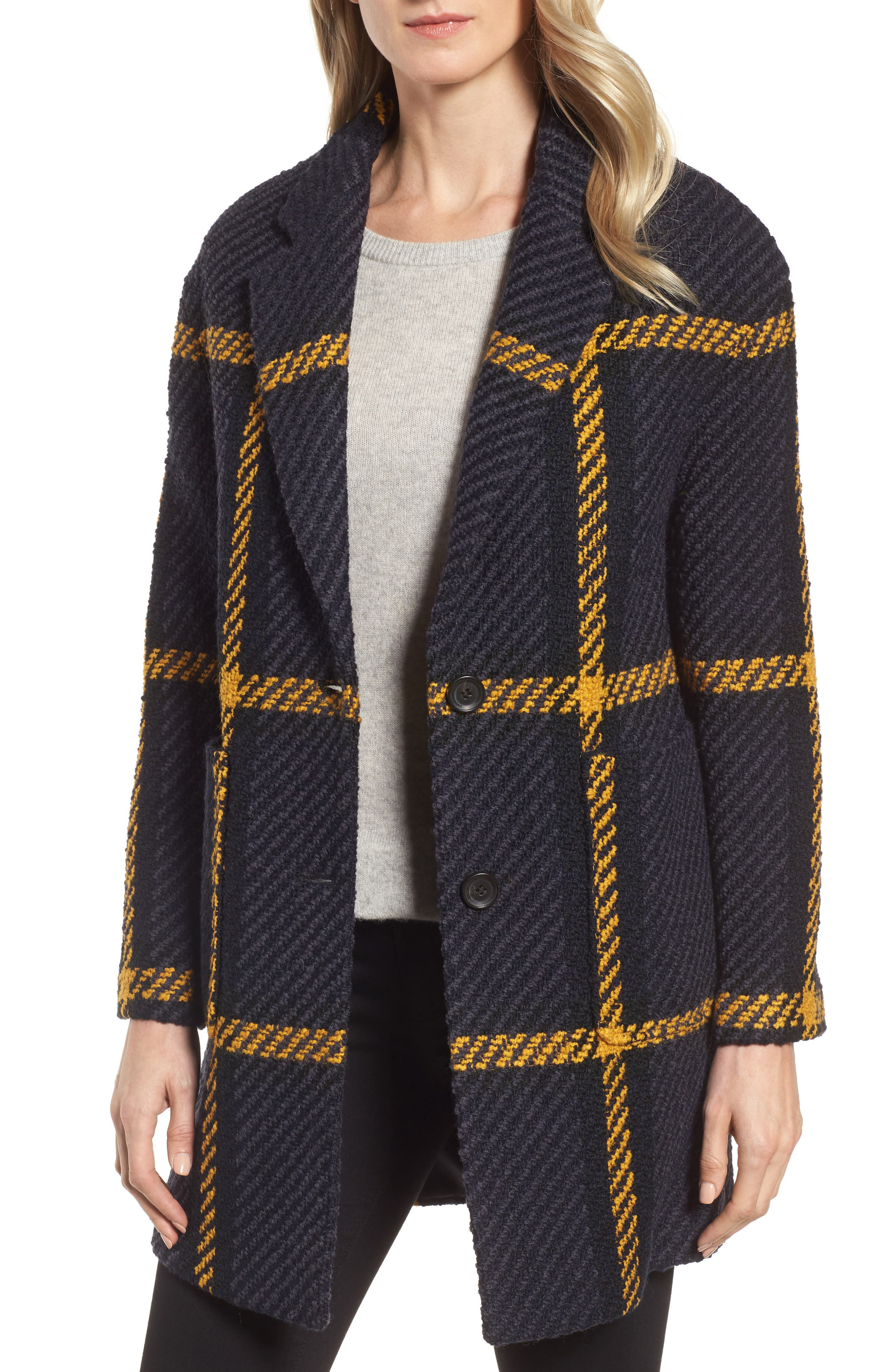 DKNY Textured Plaid Wool Blend Coat,                             Main thumbnail 1, color,                             Black/ Navy/ Yellow