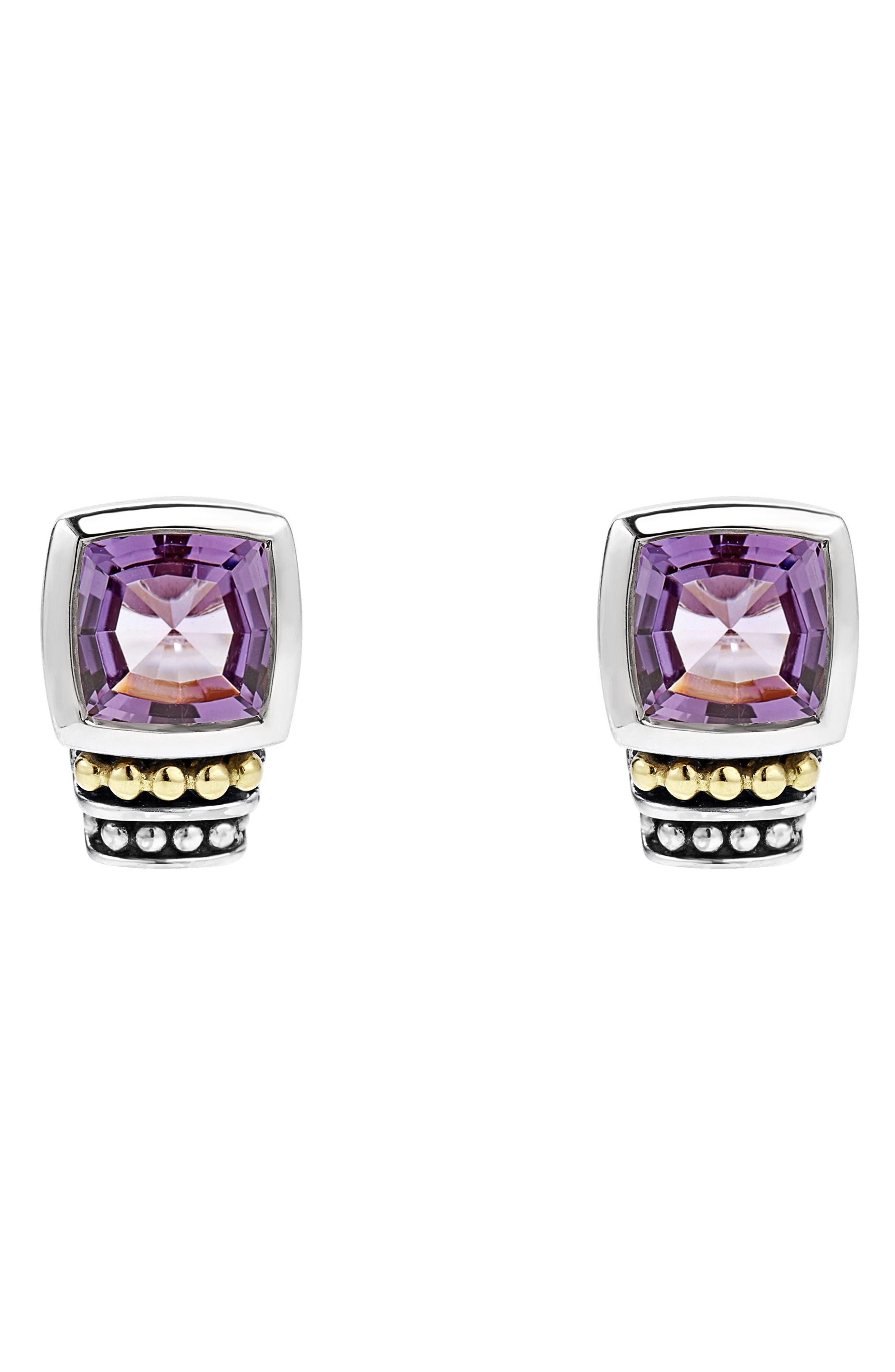 'Caviar Color' Semiprecious Stone Stud Earrings,                             Main thumbnail 1, color,                             Amethyst