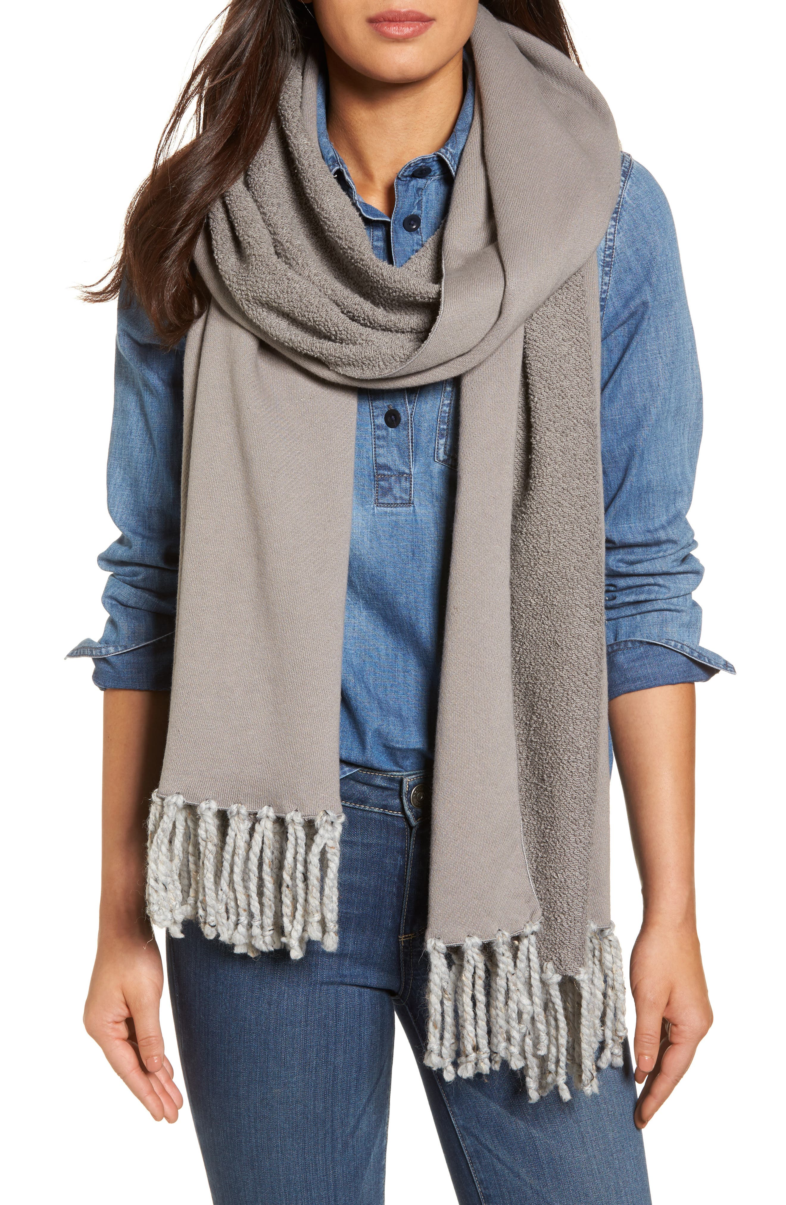 Poodle French Terry Scarf,                             Main thumbnail 1, color,                             Heather Grey