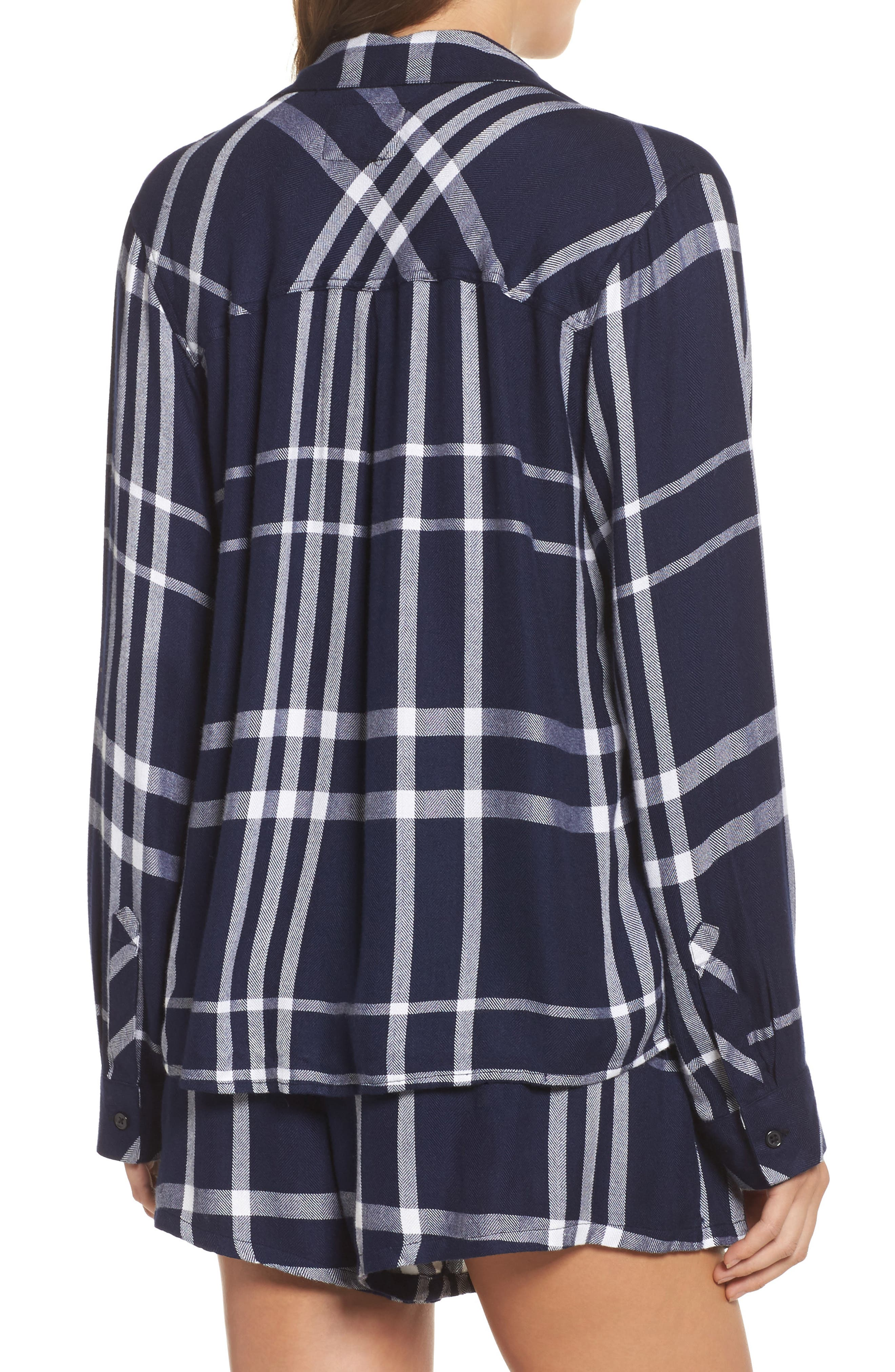 Plaid Short Pajamas,                             Alternate thumbnail 2, color,                             Cadet/ White