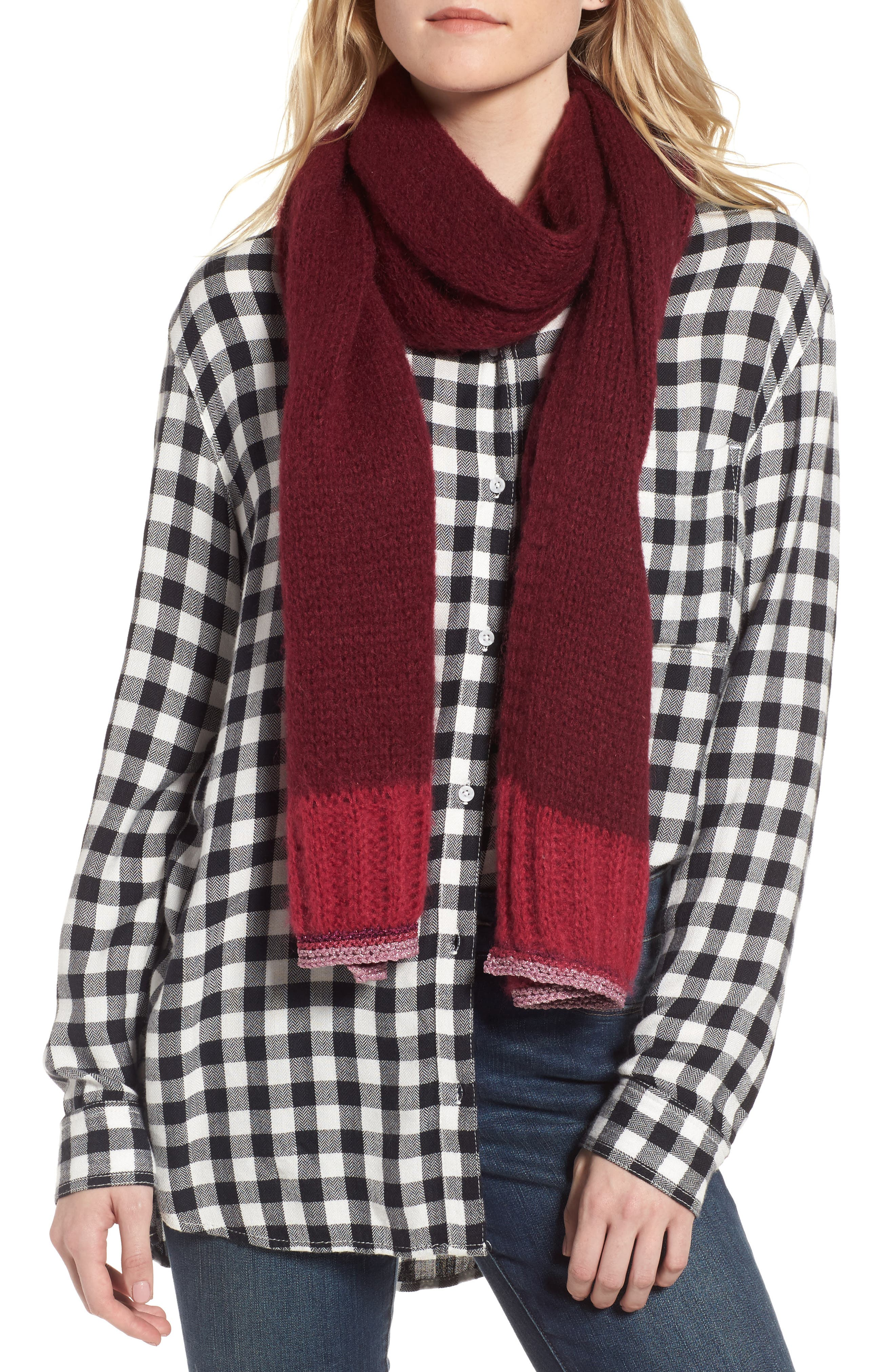 Metallic Tipped Scarf,                         Main,                         color, Burgundy Combo
