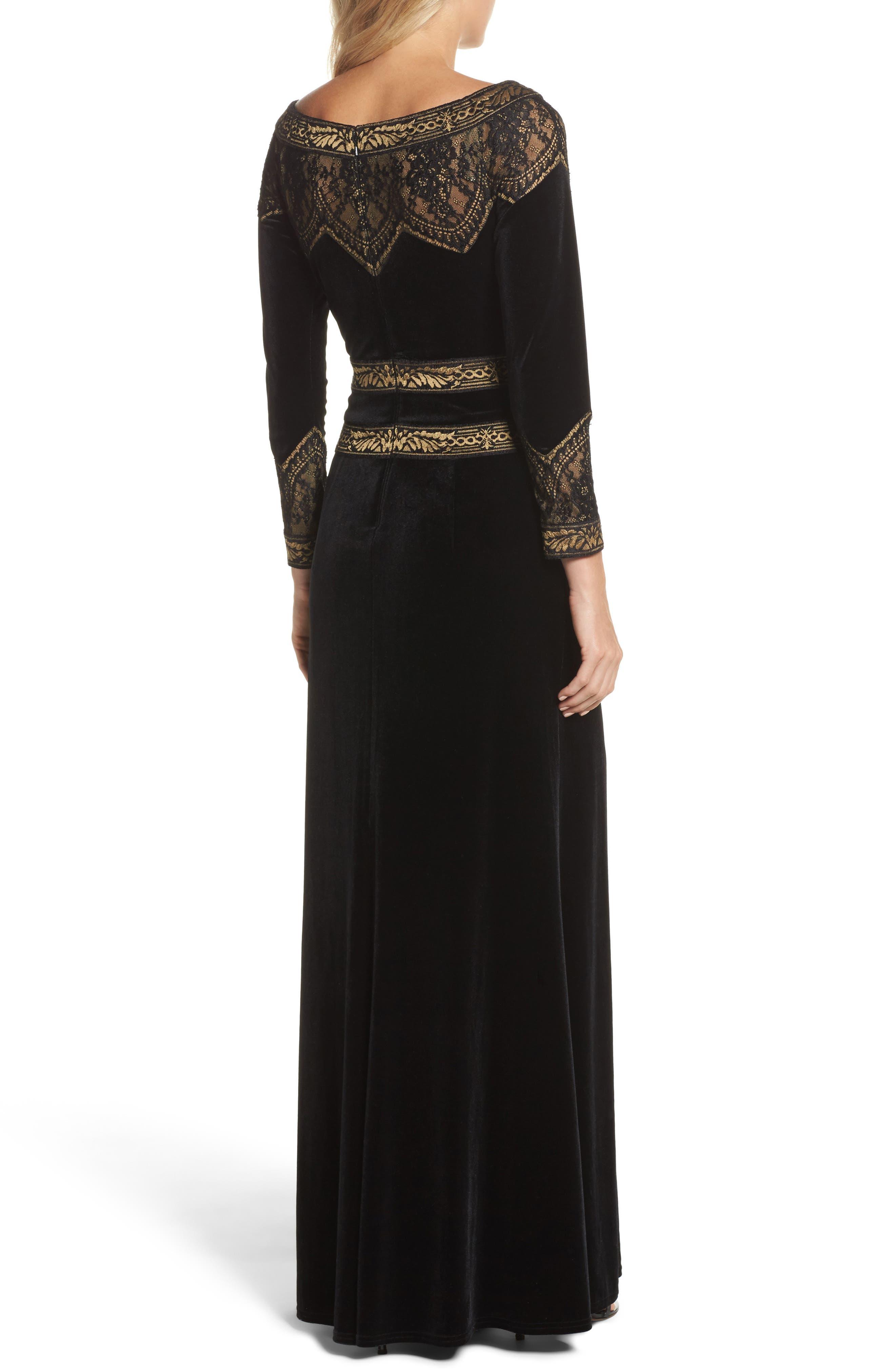 Lace Trim Velvet Gown,                             Alternate thumbnail 2, color,                             Black/ Gold
