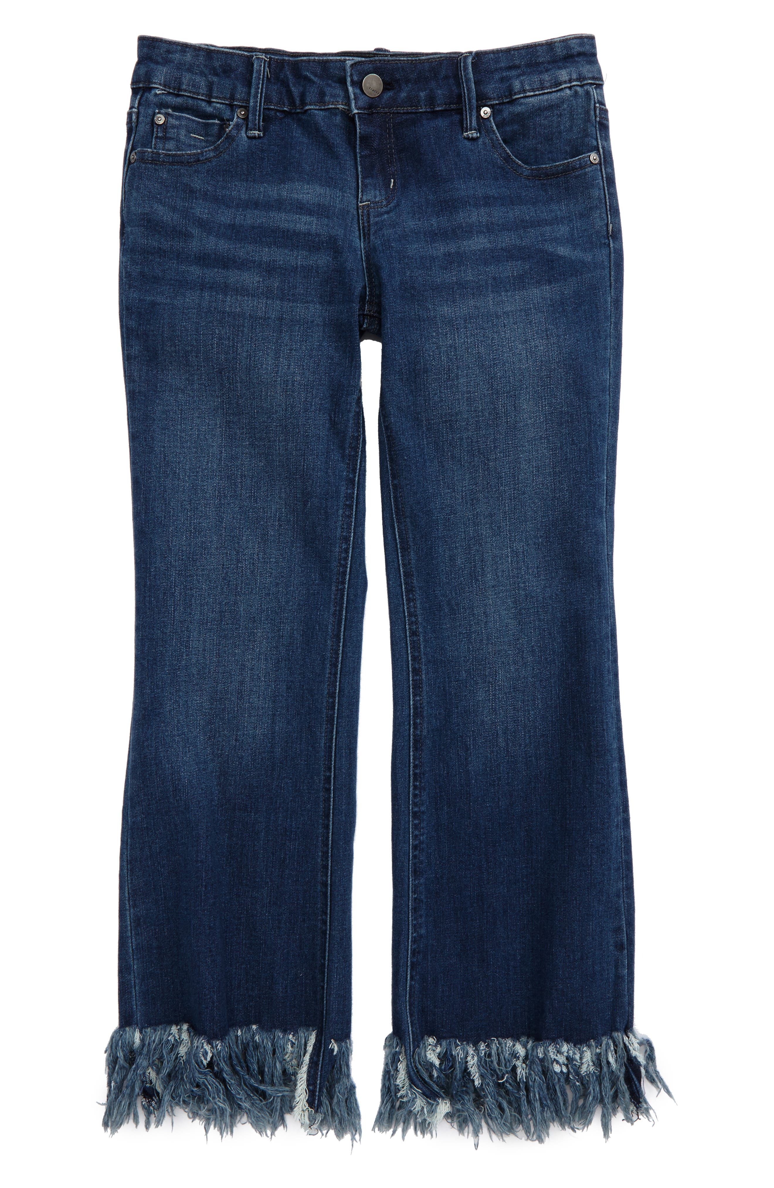Alternate Image 1 Selected - Tractr Frayed Hem Crop Jeans (Big Girls)