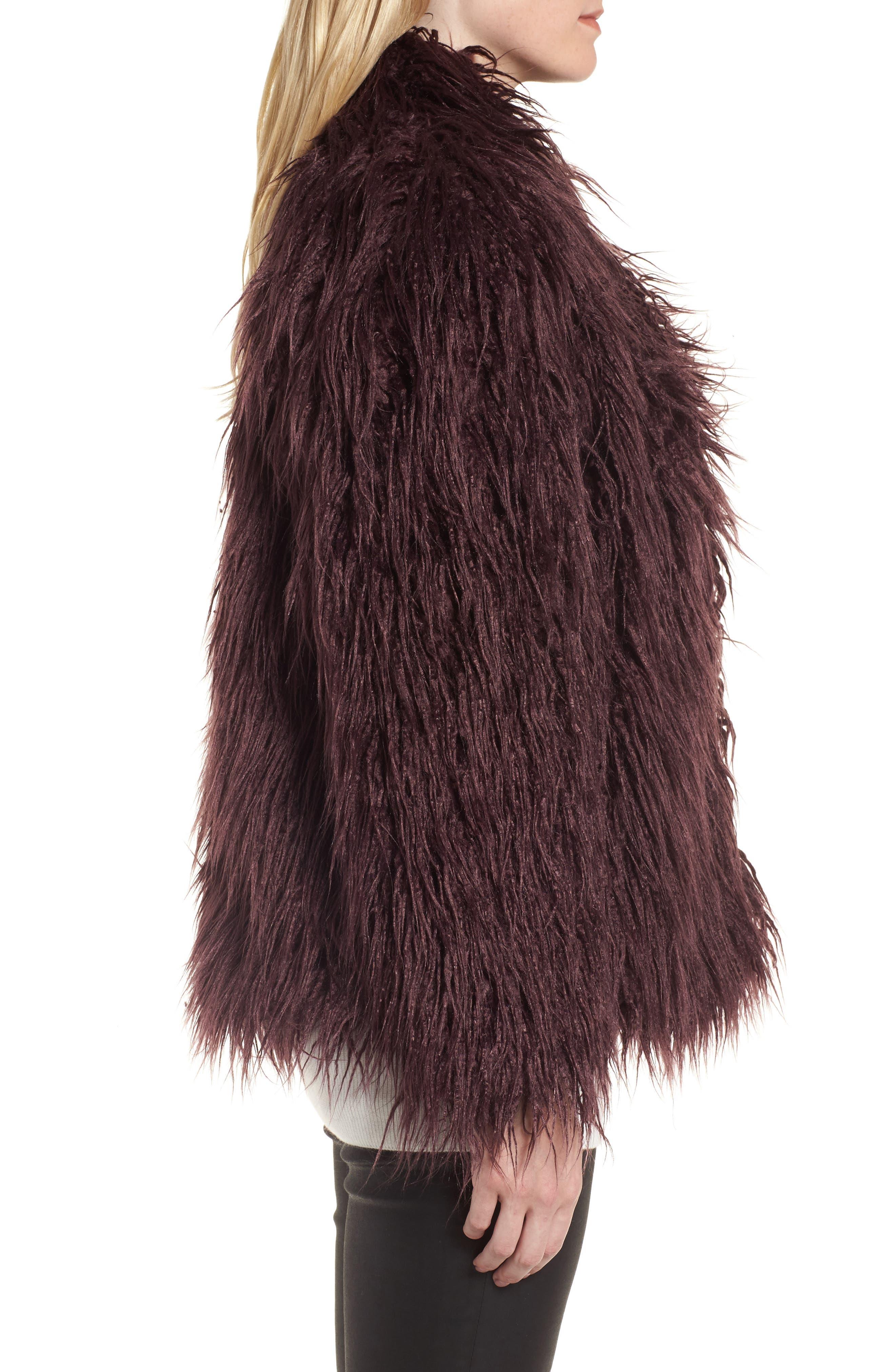 Shaggy Faux Fur Jacket,                             Alternate thumbnail 3, color,                             Burgundy Stem