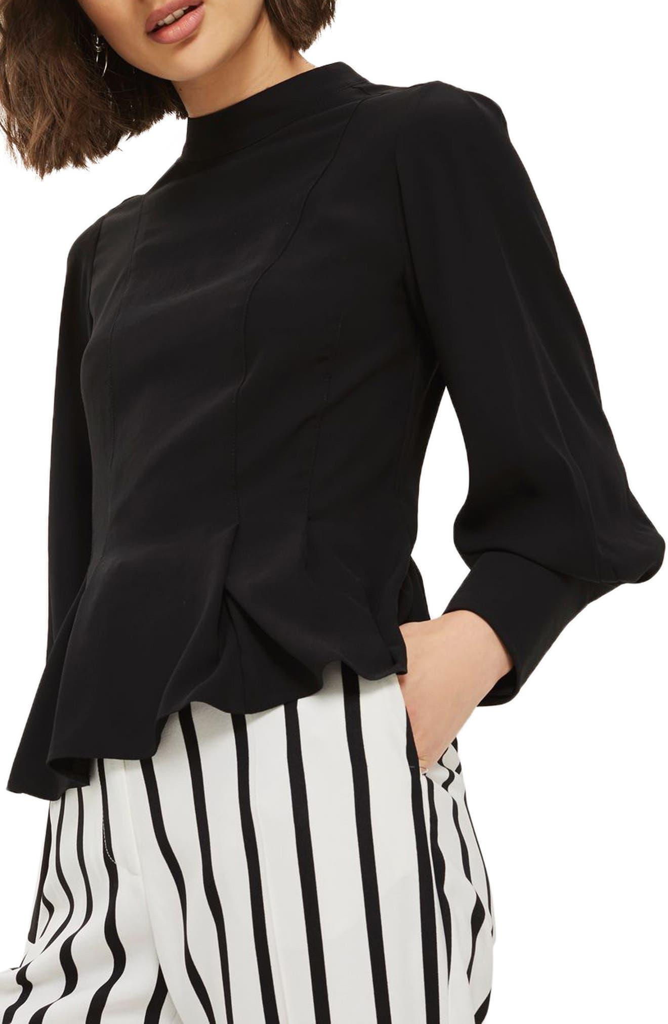 Tuck Waist Blouse,                         Main,                         color, Black
