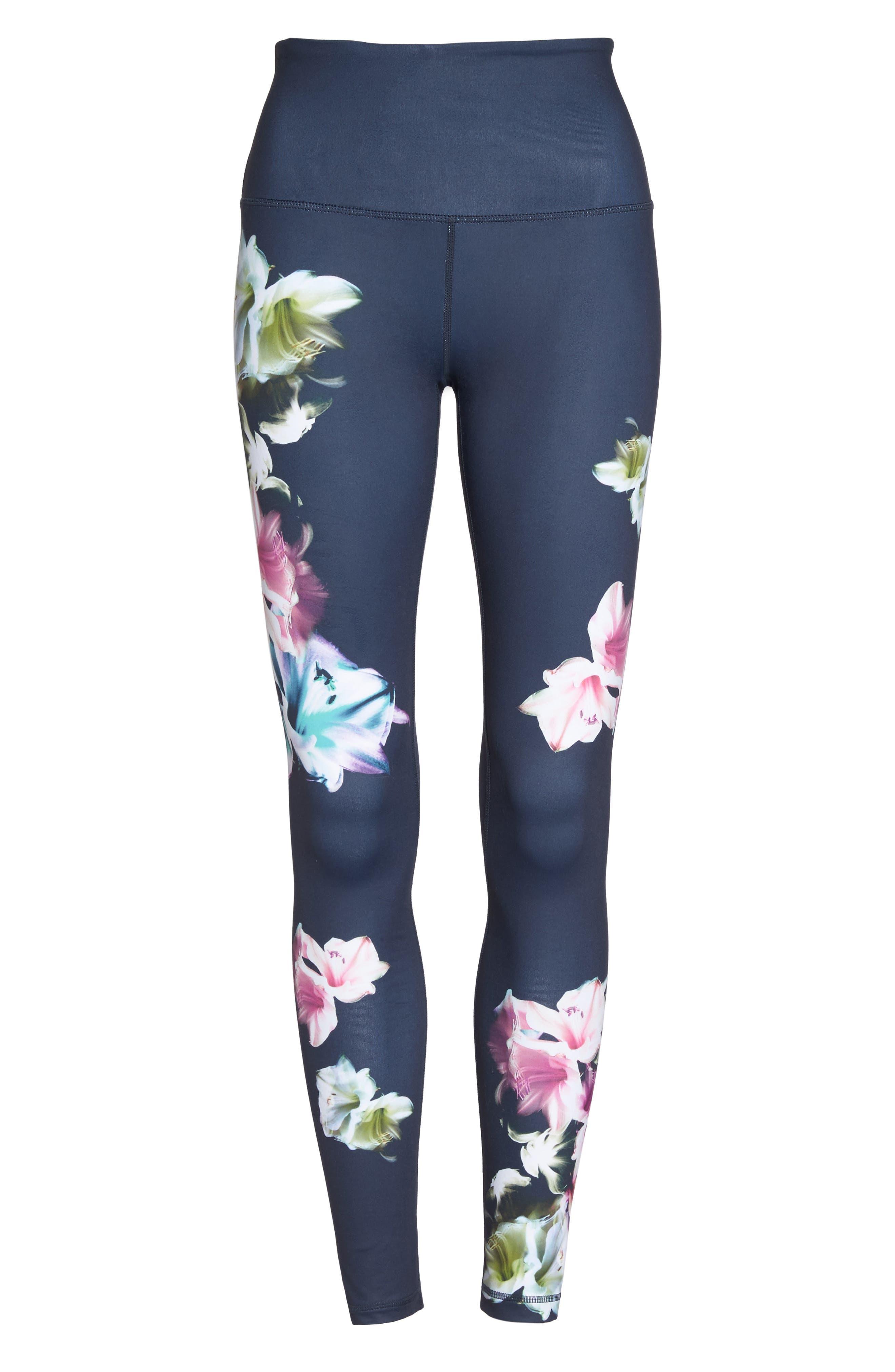 Pure Floral Ink High Waist Leggings,                             Alternate thumbnail 7, color,                             Grey Slate Floral Engineer Prt