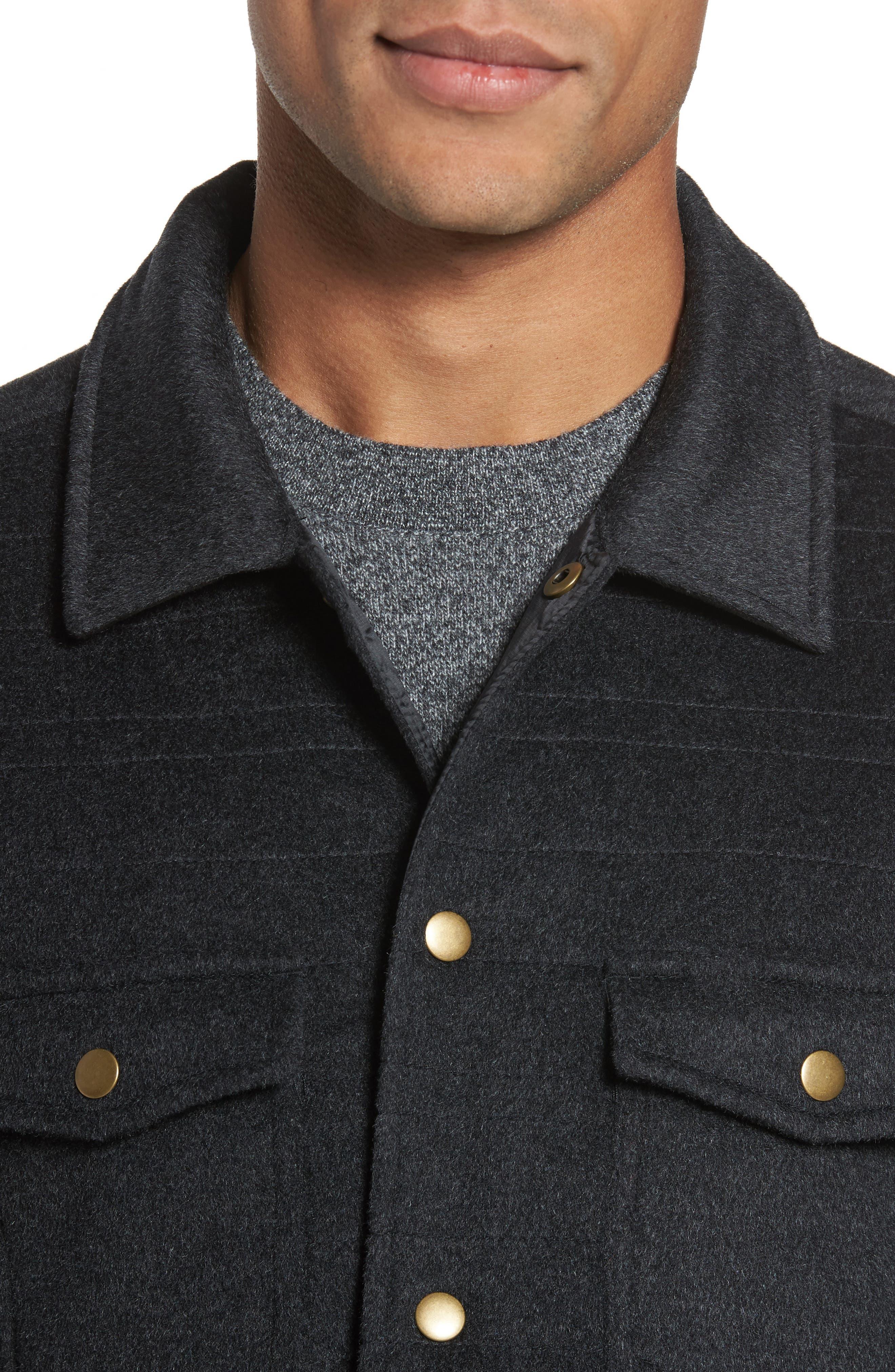 Michael Slim Fit Quilted Shirt Jacket,                             Alternate thumbnail 4, color,                             Dark Char Melange