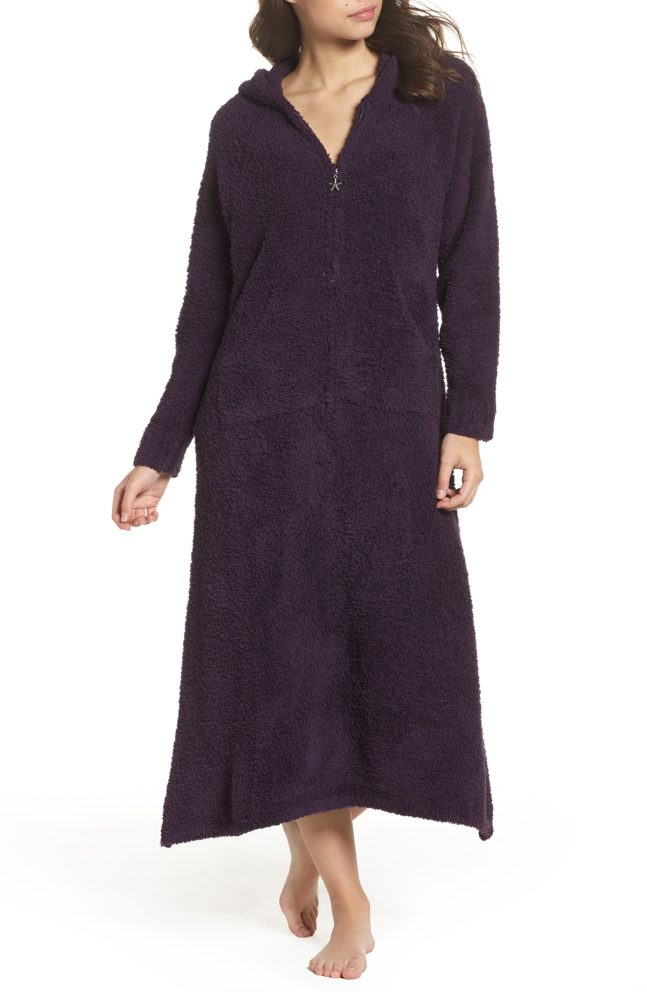 CozyChic<sup>®</sup> Hooded Zip Robe,                         Main,                         color, Amethyst