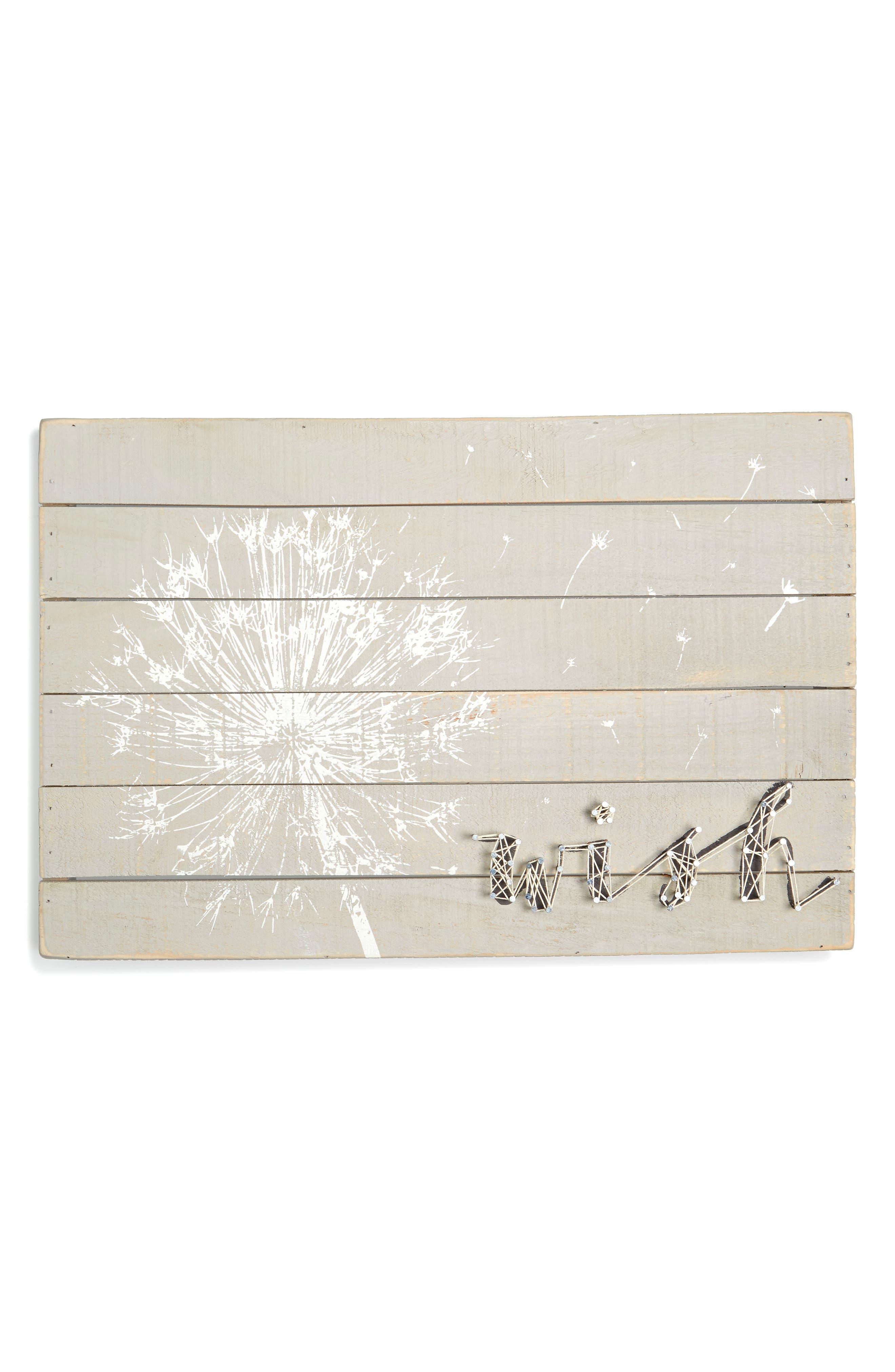 Make a Wish String Art Box Sign,                             Main thumbnail 1, color,                             Grey
