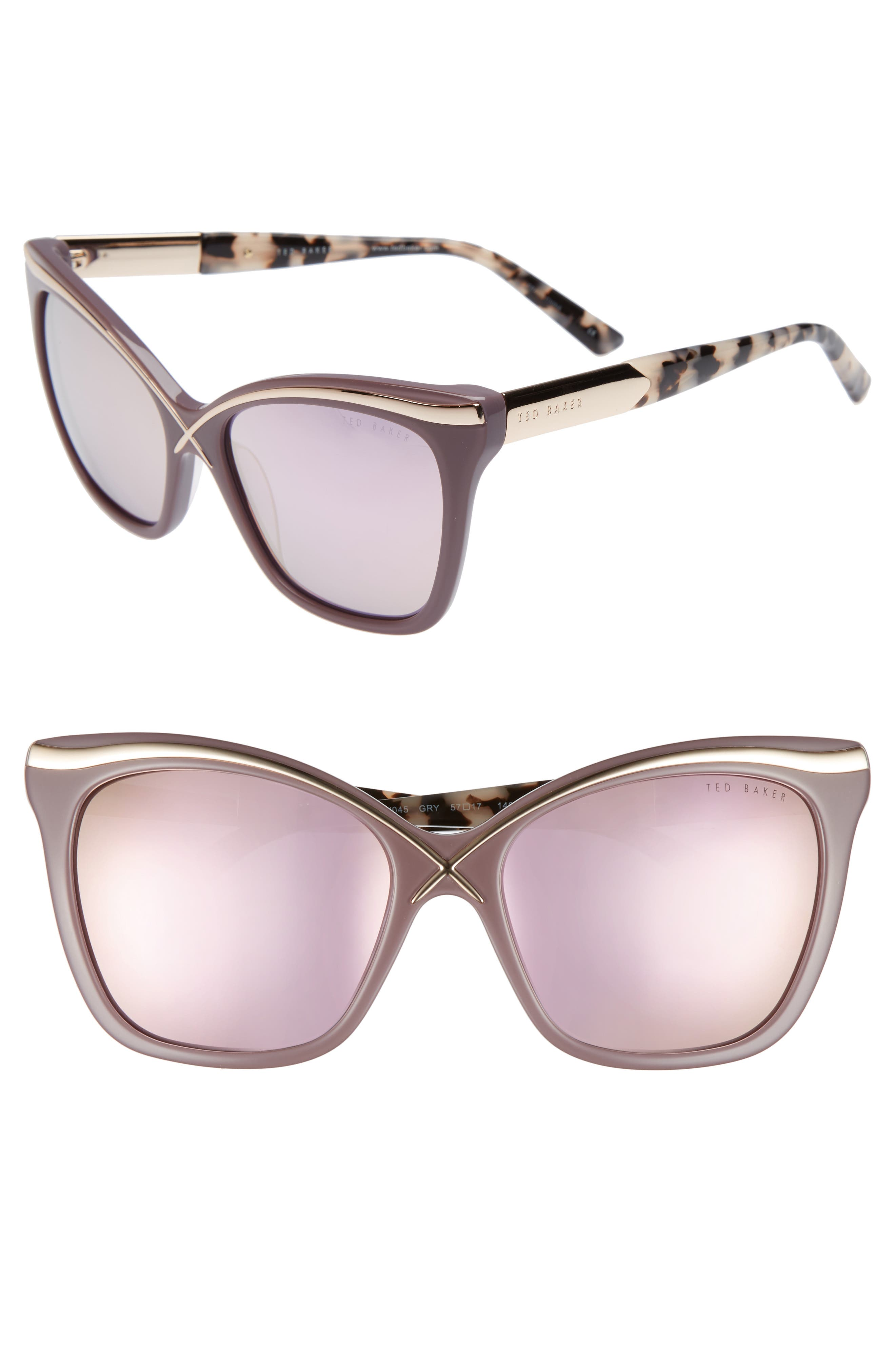 57mm Square Cat Eye Sunglasses,                         Main,                         color, Grey