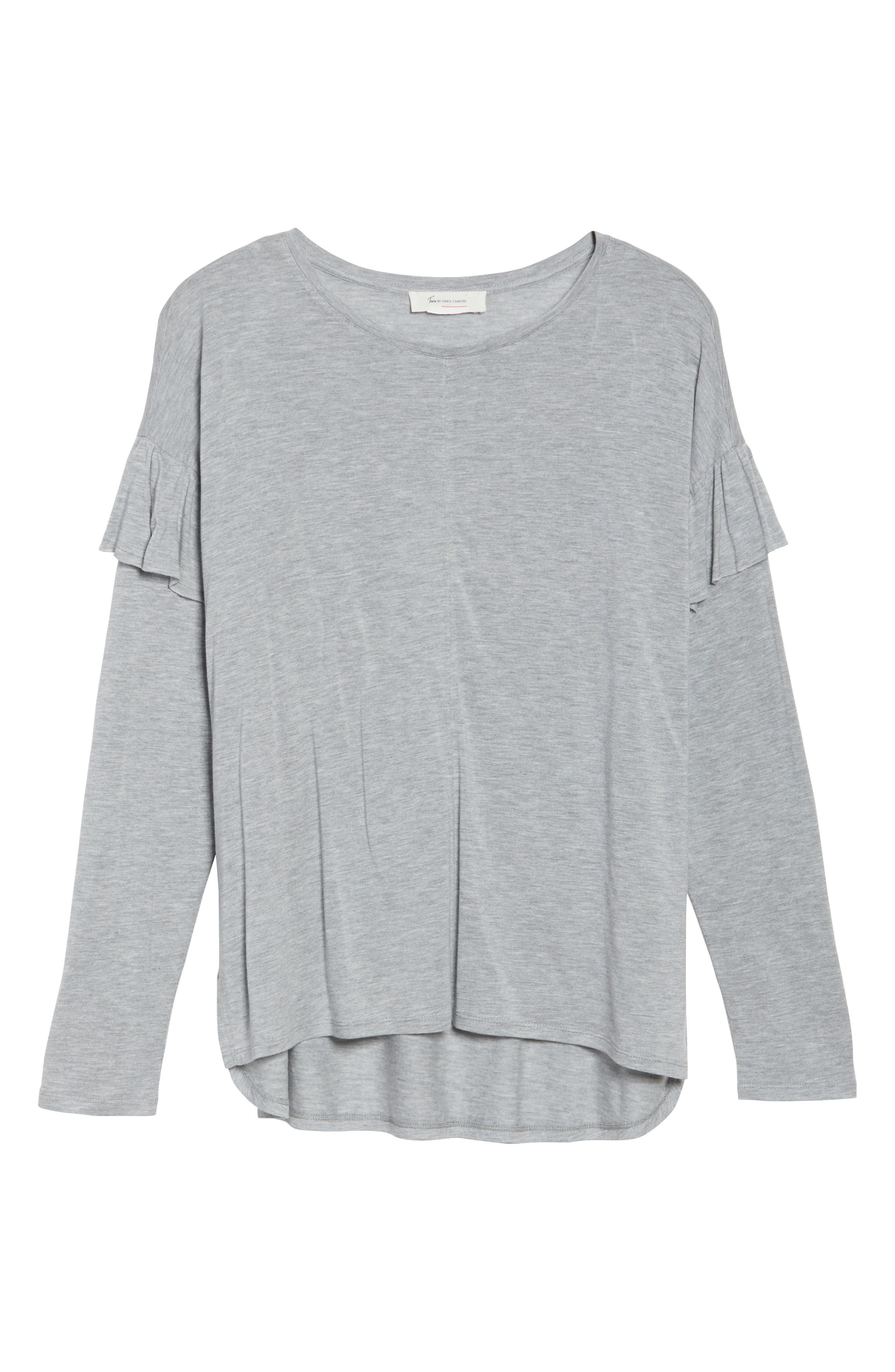 Long Sleeve Ruffle Shoulder Top,                             Alternate thumbnail 6, color,                             Light Heather Grey