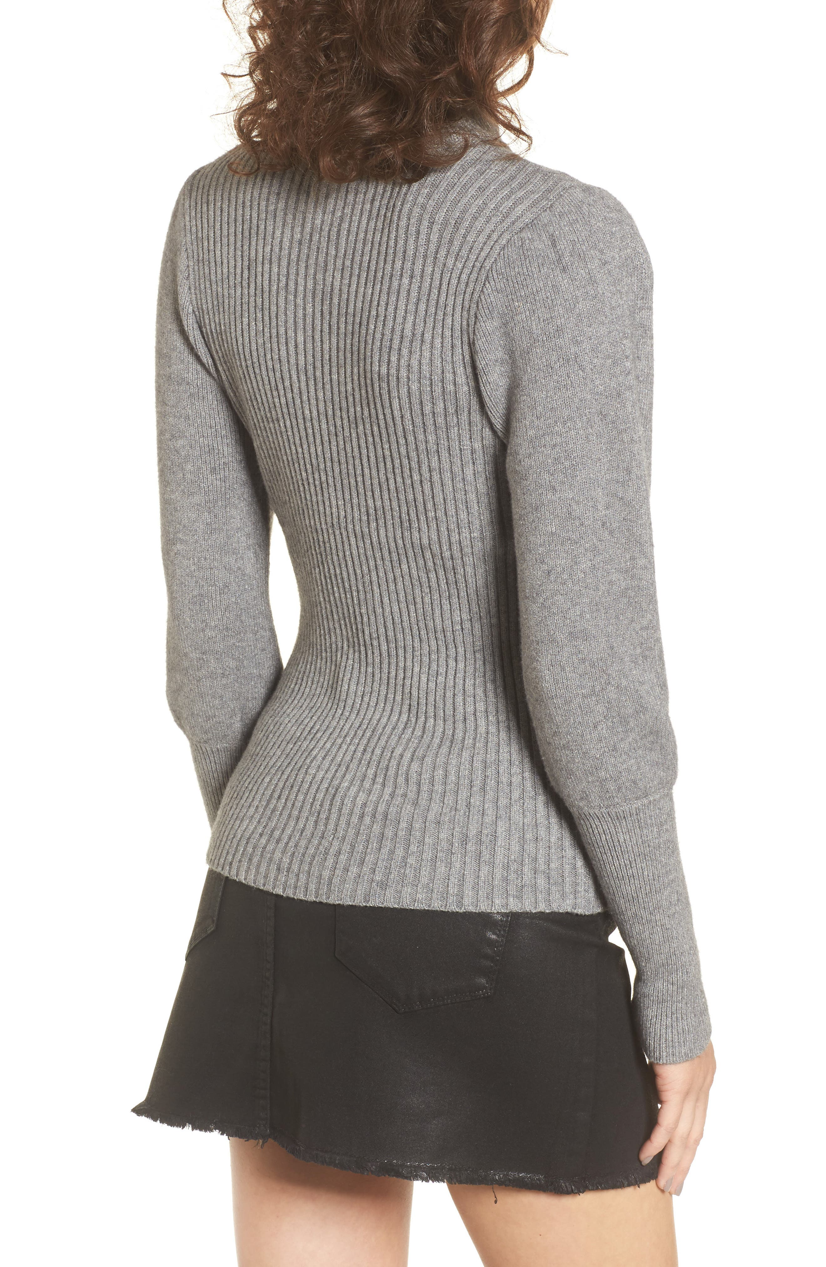 Puff Sleeve Sweater,                             Alternate thumbnail 2, color,                             Grey