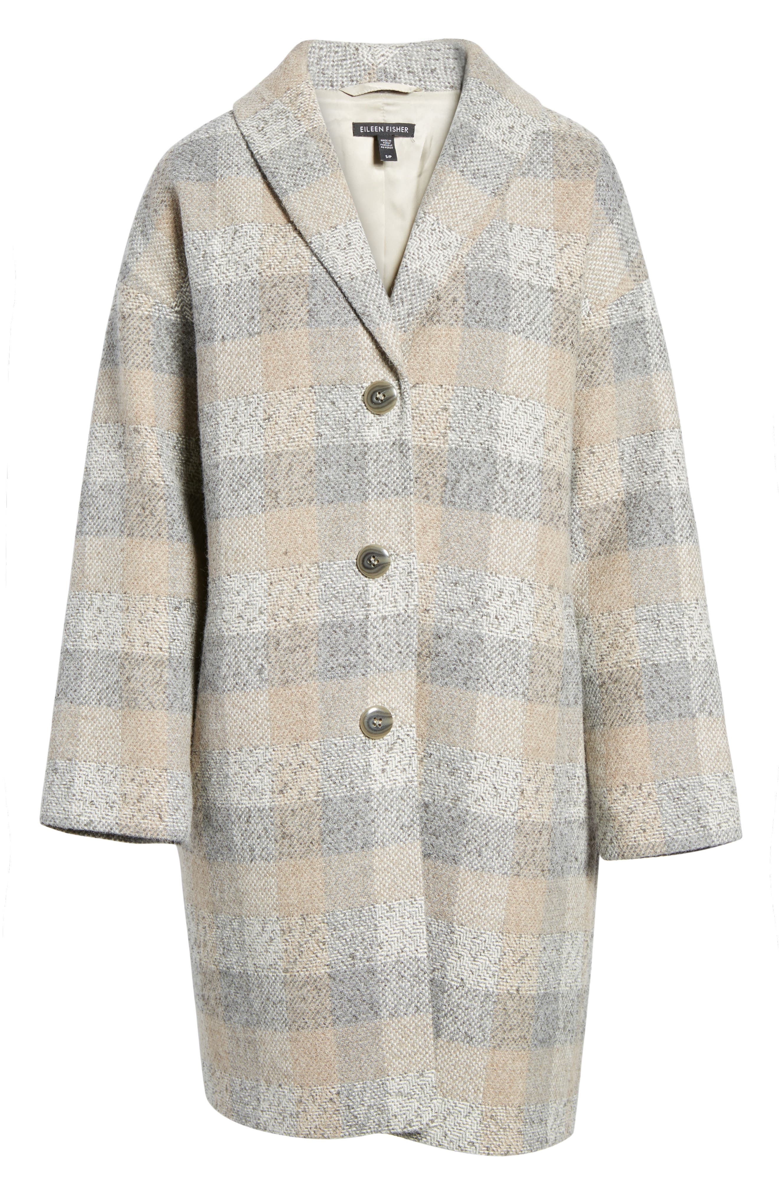 Plaid Alpaca Blend Coat,                             Alternate thumbnail 6, color,                             Dark Pearl