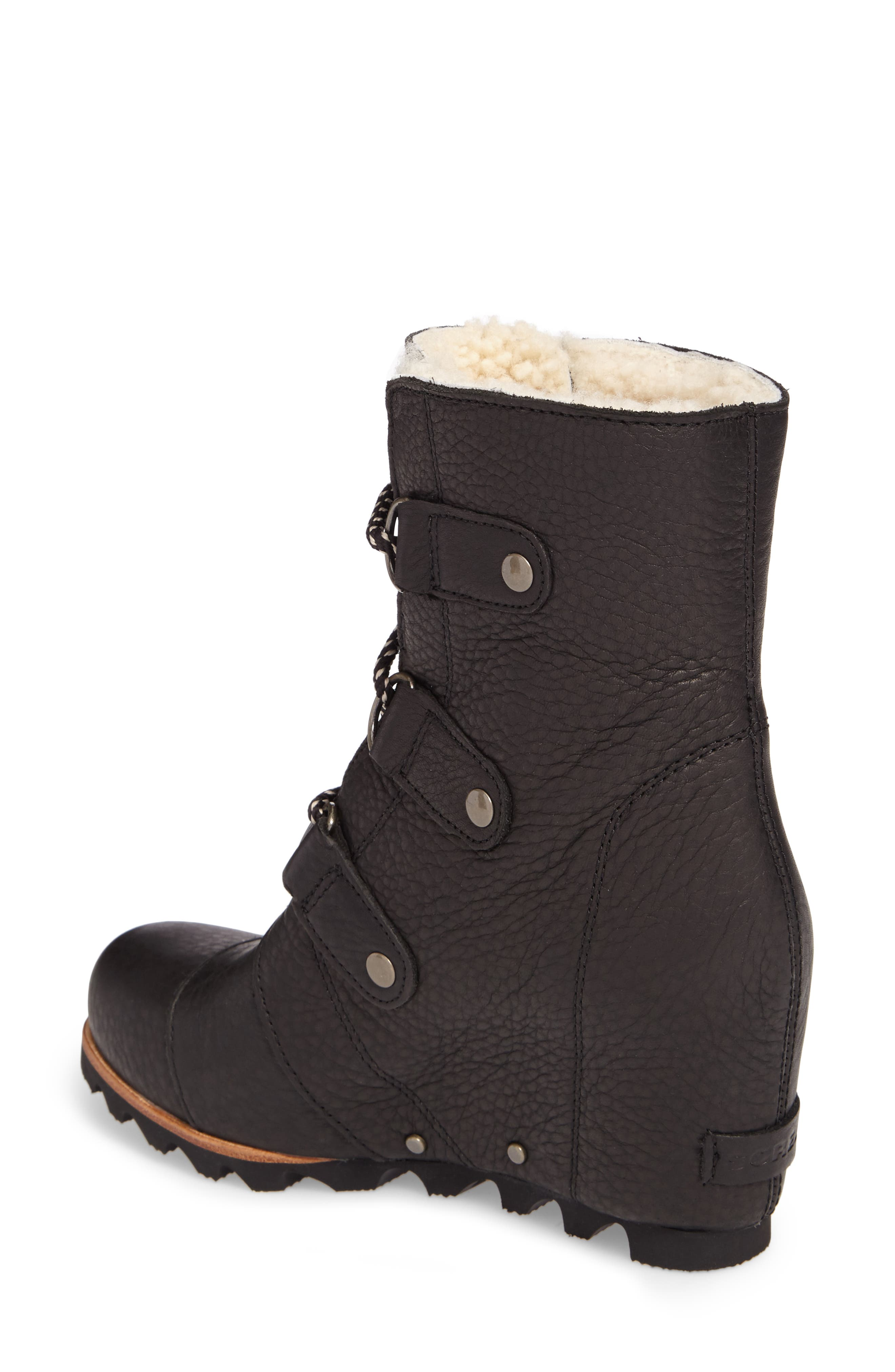 Joan of Arctic Wedge Genuine Shearling Bootie,                             Alternate thumbnail 2, color,                             Black/ Ancient