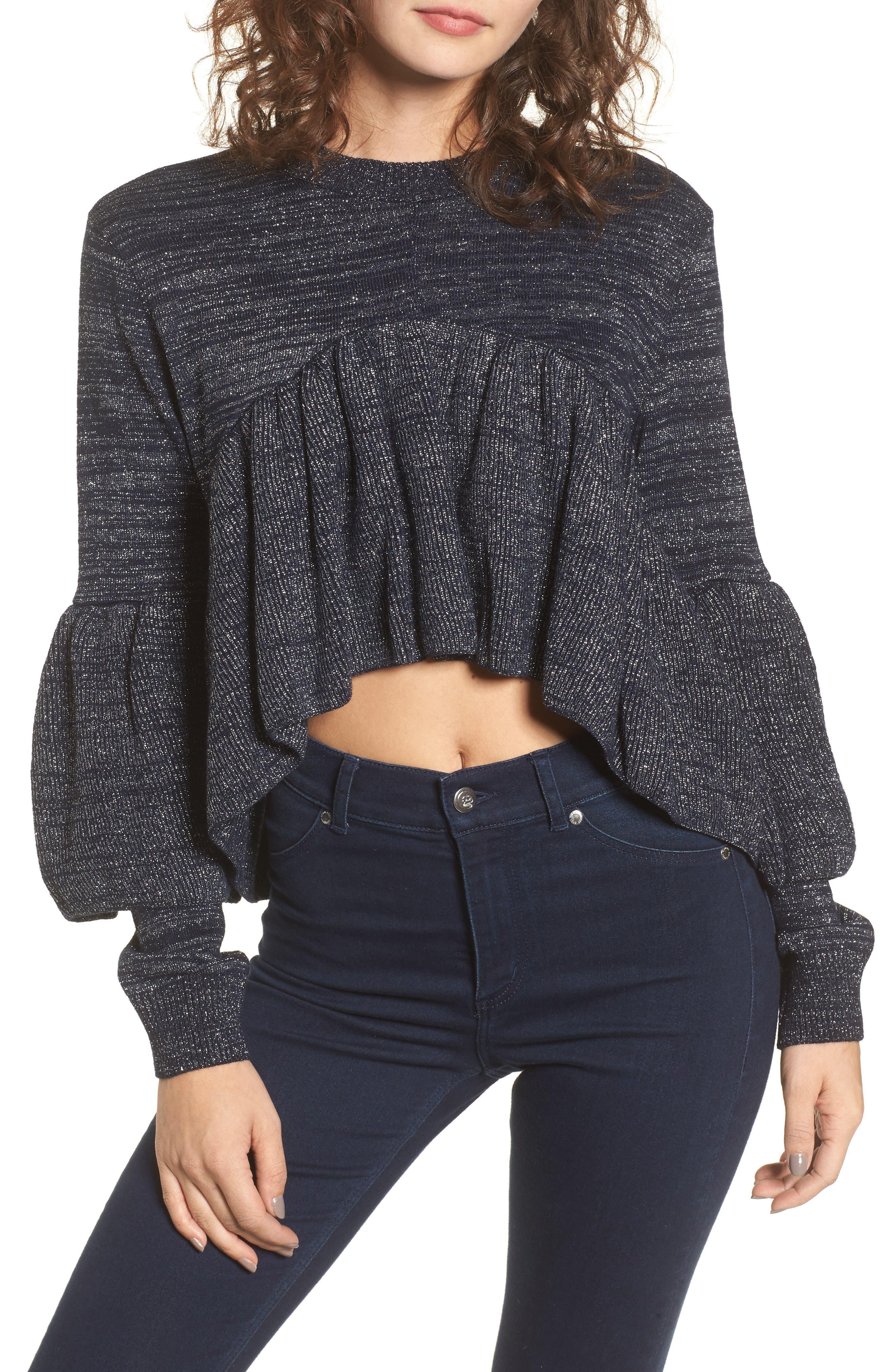 Ruffle Sweater,                         Main,                         color, Navy