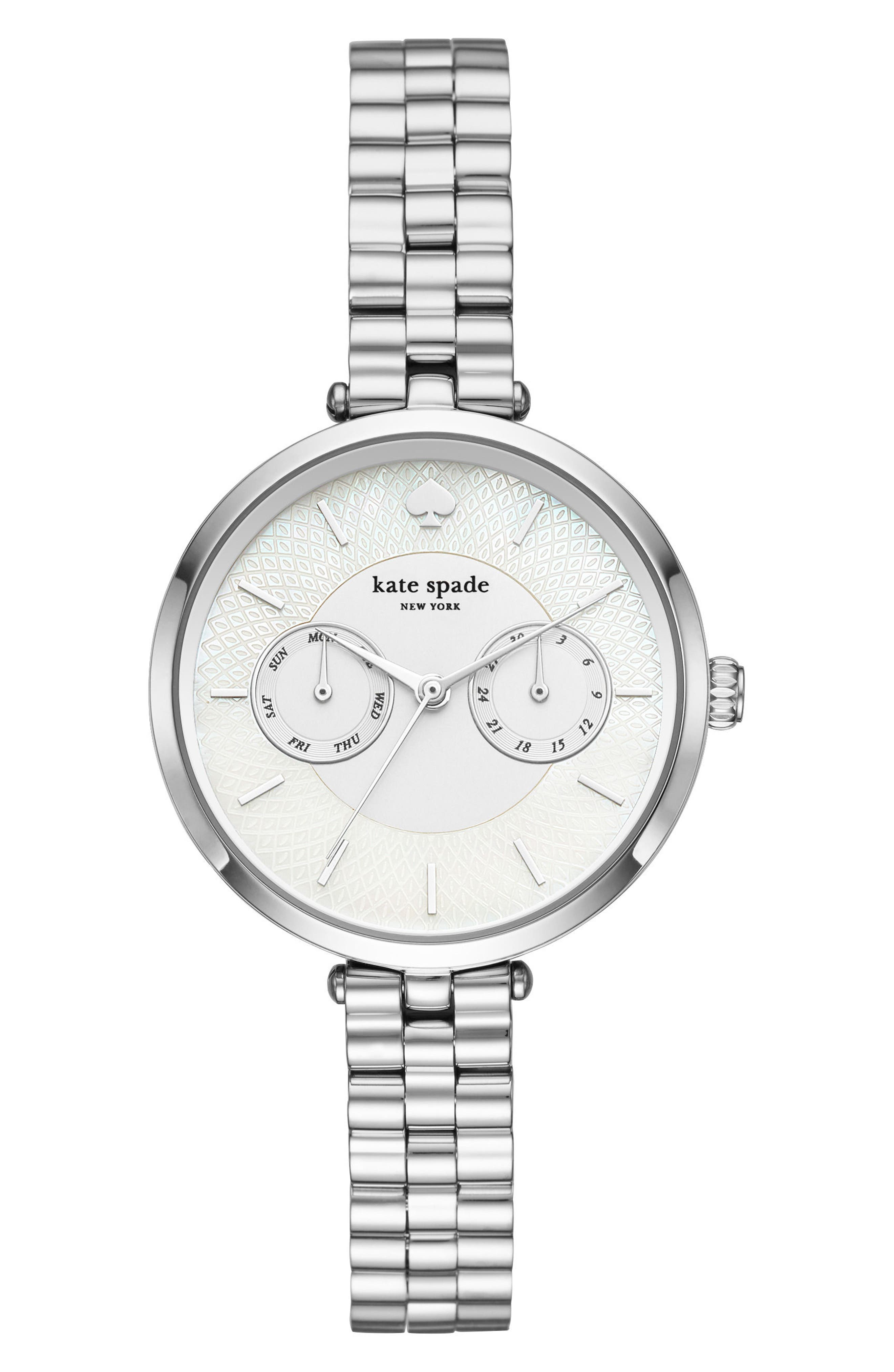 holland multifunctional bracelet watch, 34mm,                         Main,                         color, Silver/ Mop/ Silver