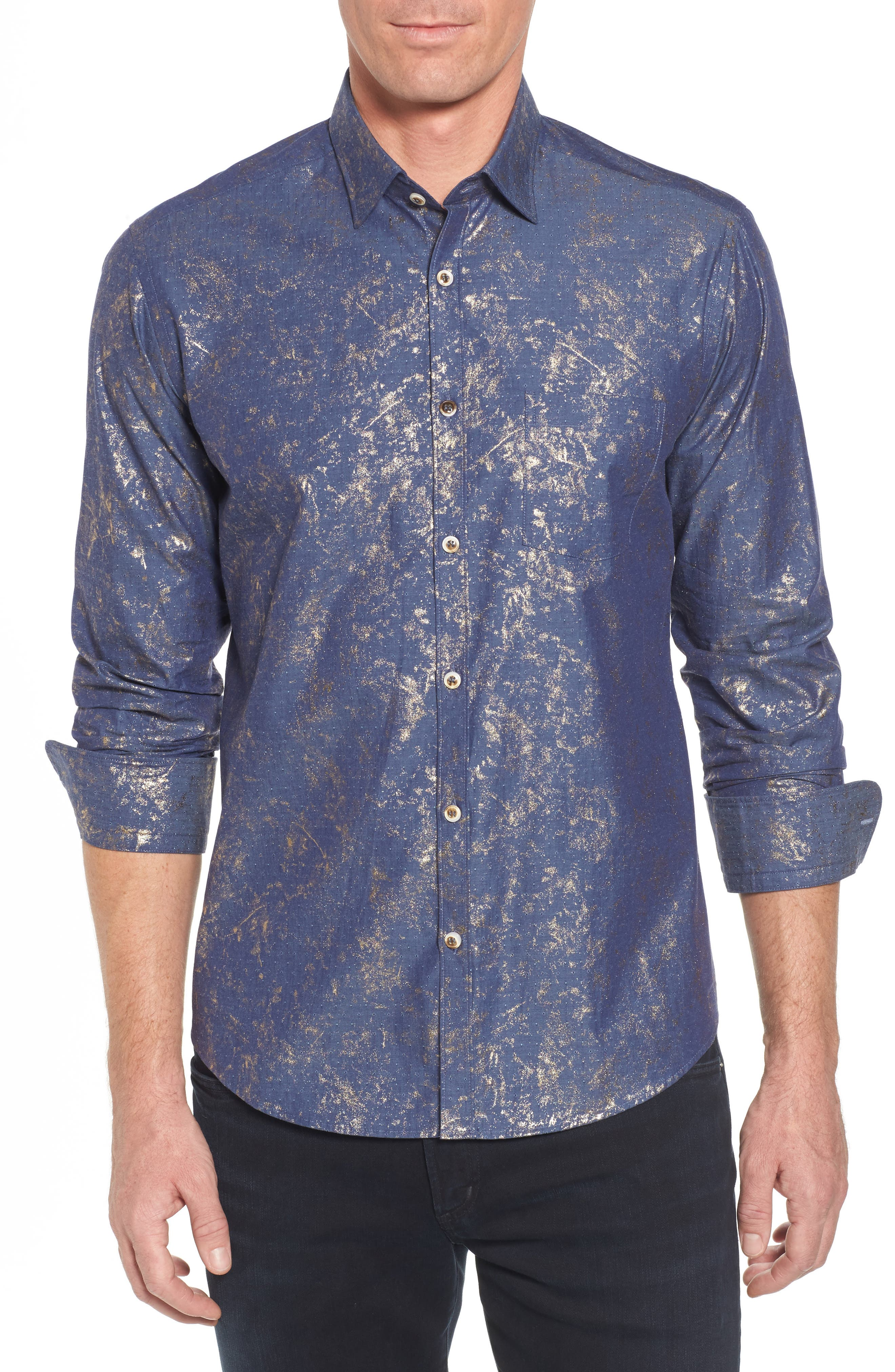 Stardust Diamond Regular Fit Foil Print Sport Shirt,                         Main,                         color, Indigo