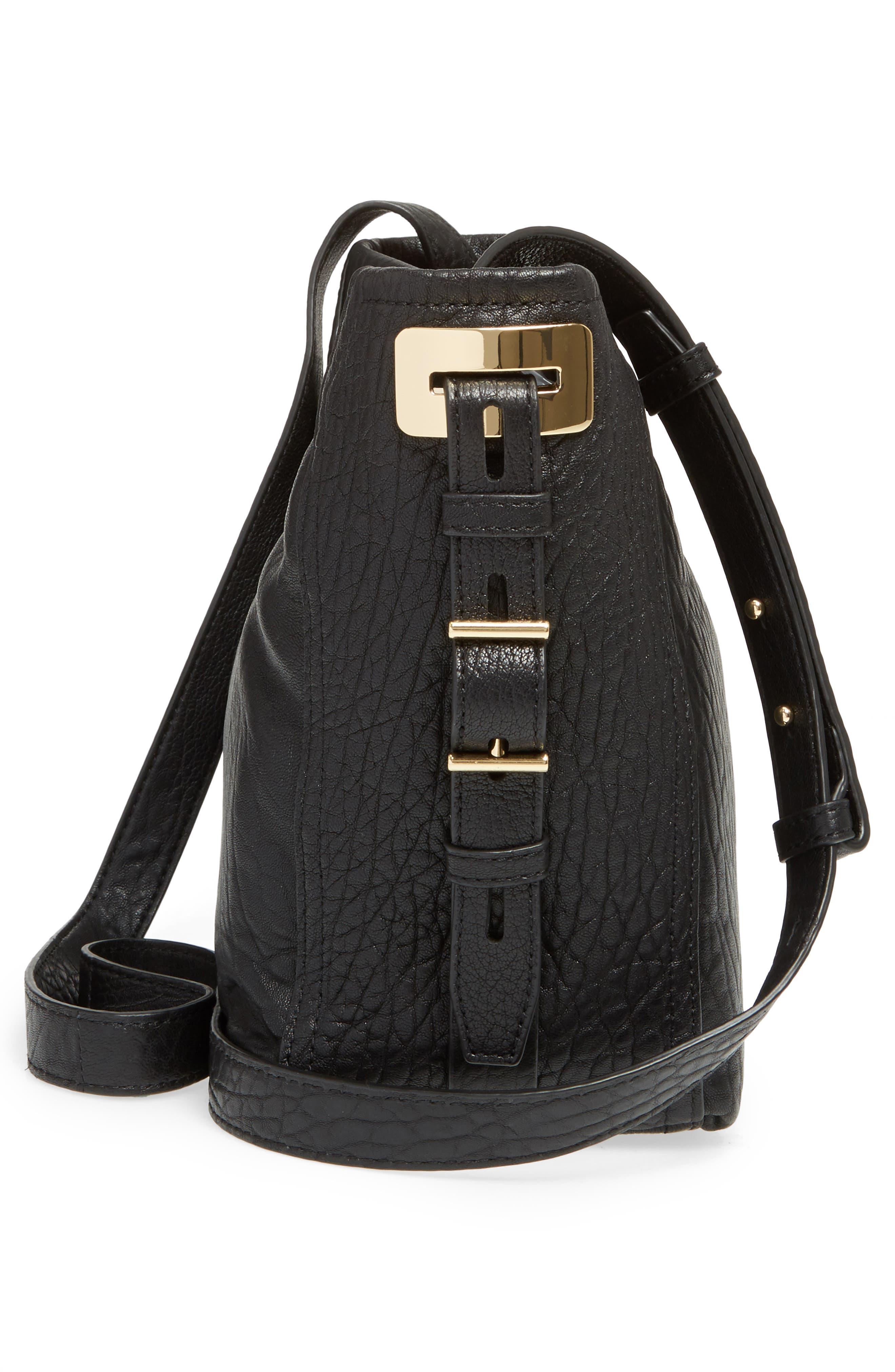 Fava Leather Bucket Bag,                             Alternate thumbnail 4, color,                             Black