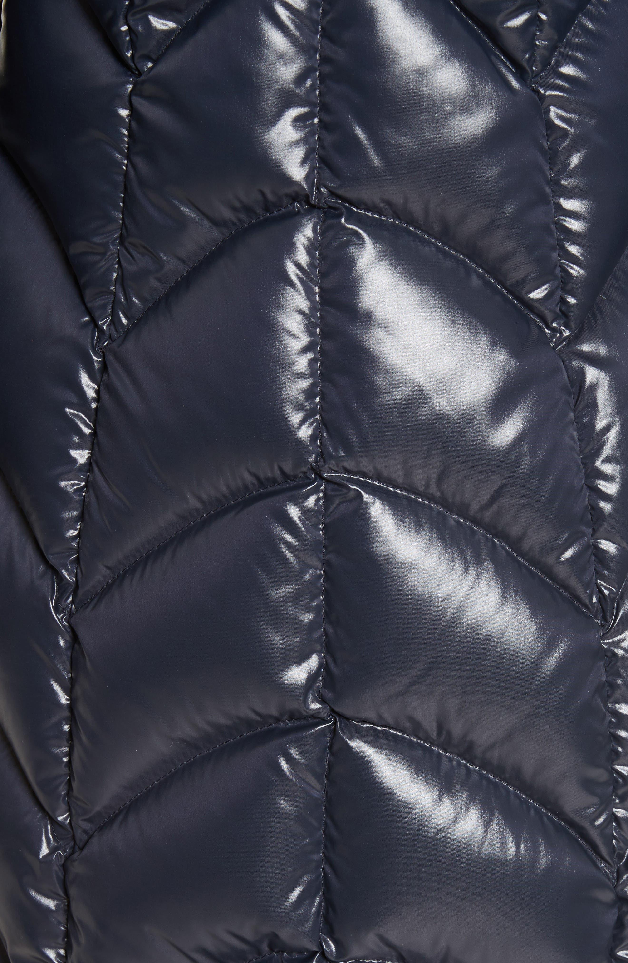 Albizia Down Puffer Coat with Genuine Fox Fur Trim,                             Alternate thumbnail 5, color,                             Navy