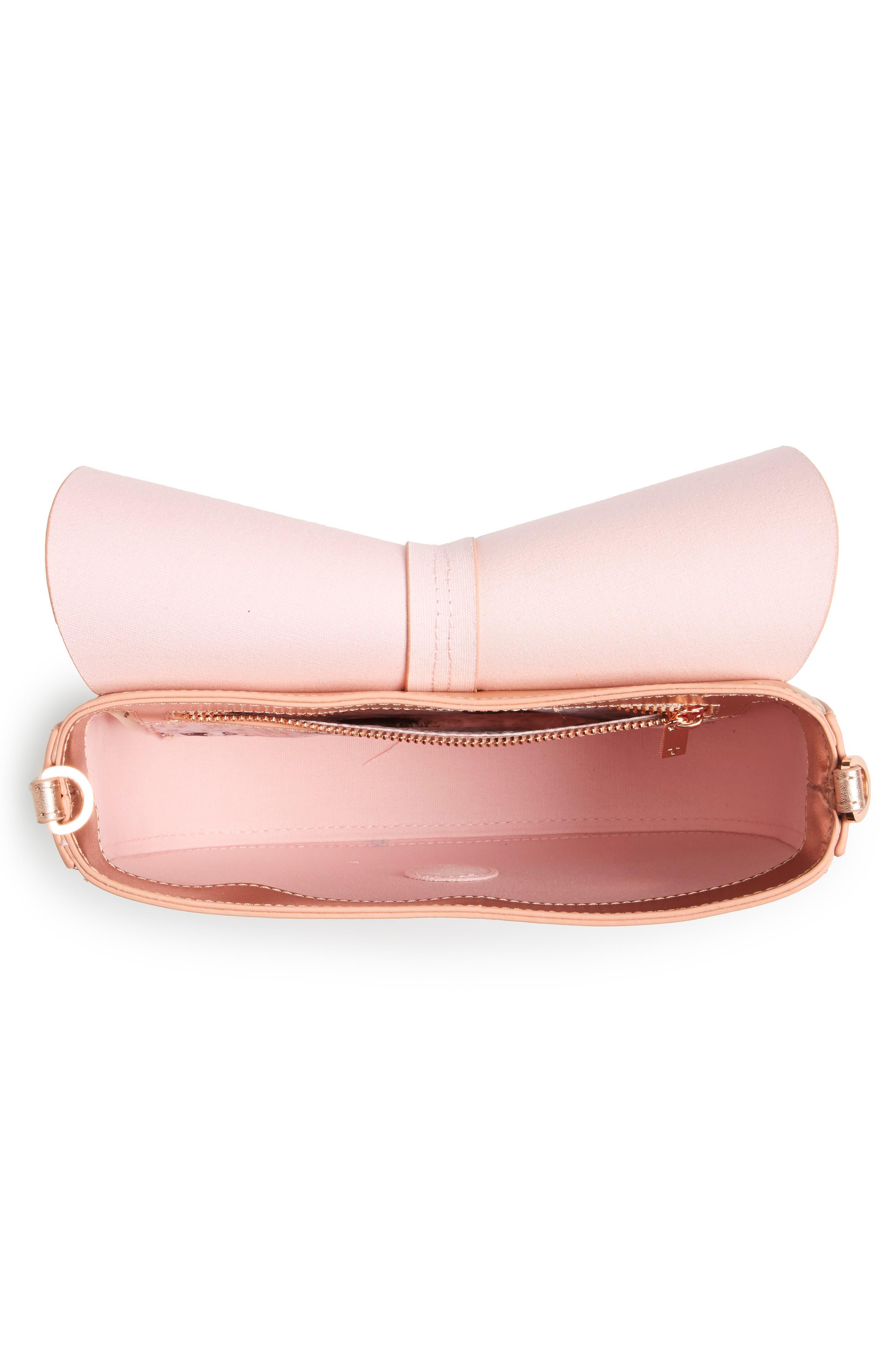 Kittii Cat Leather Crossbody Bag,                             Alternate thumbnail 4, color,                             Rose Gold