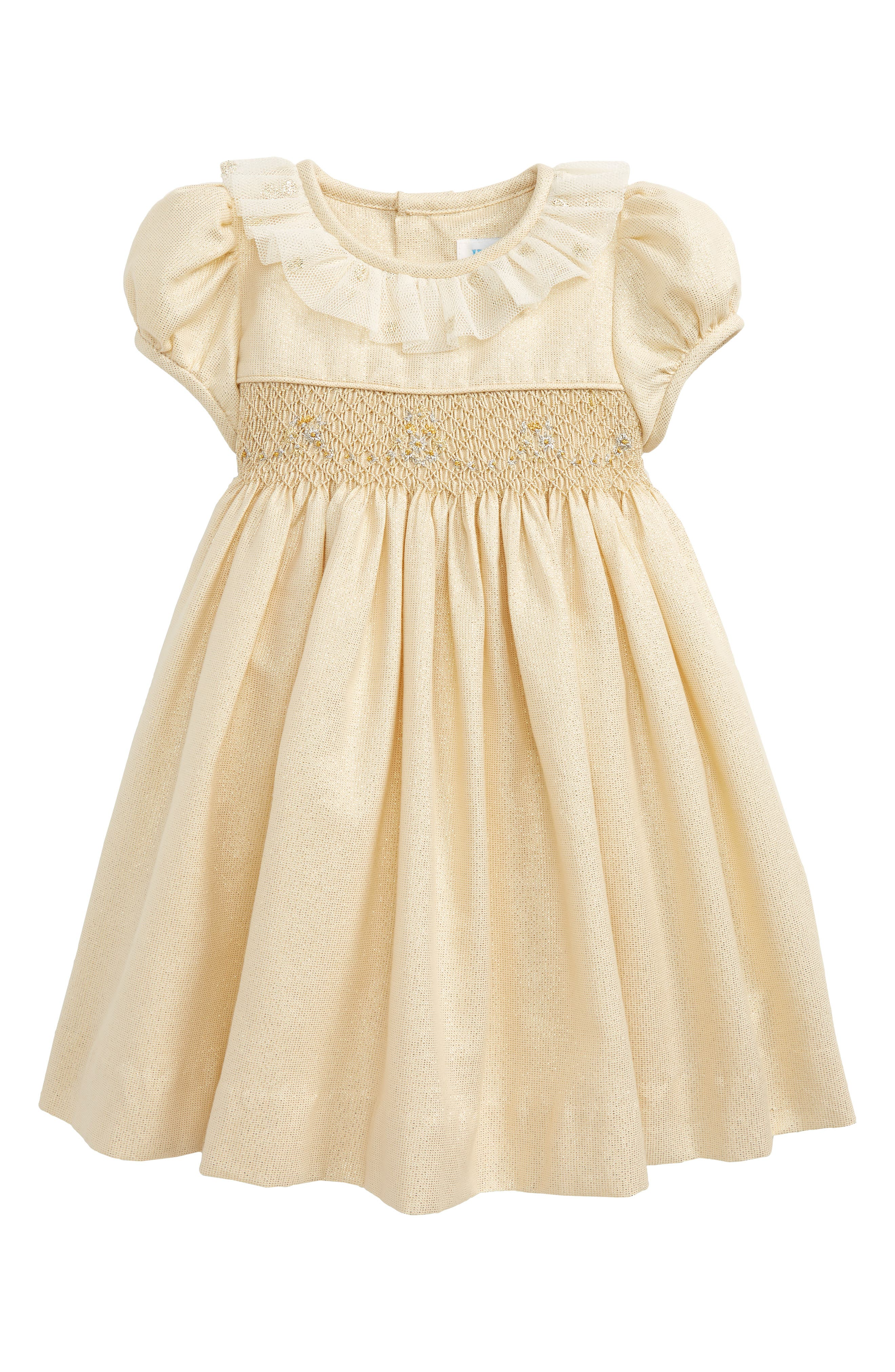 Jacquard Smocked Dress,                         Main,                         color, Gold