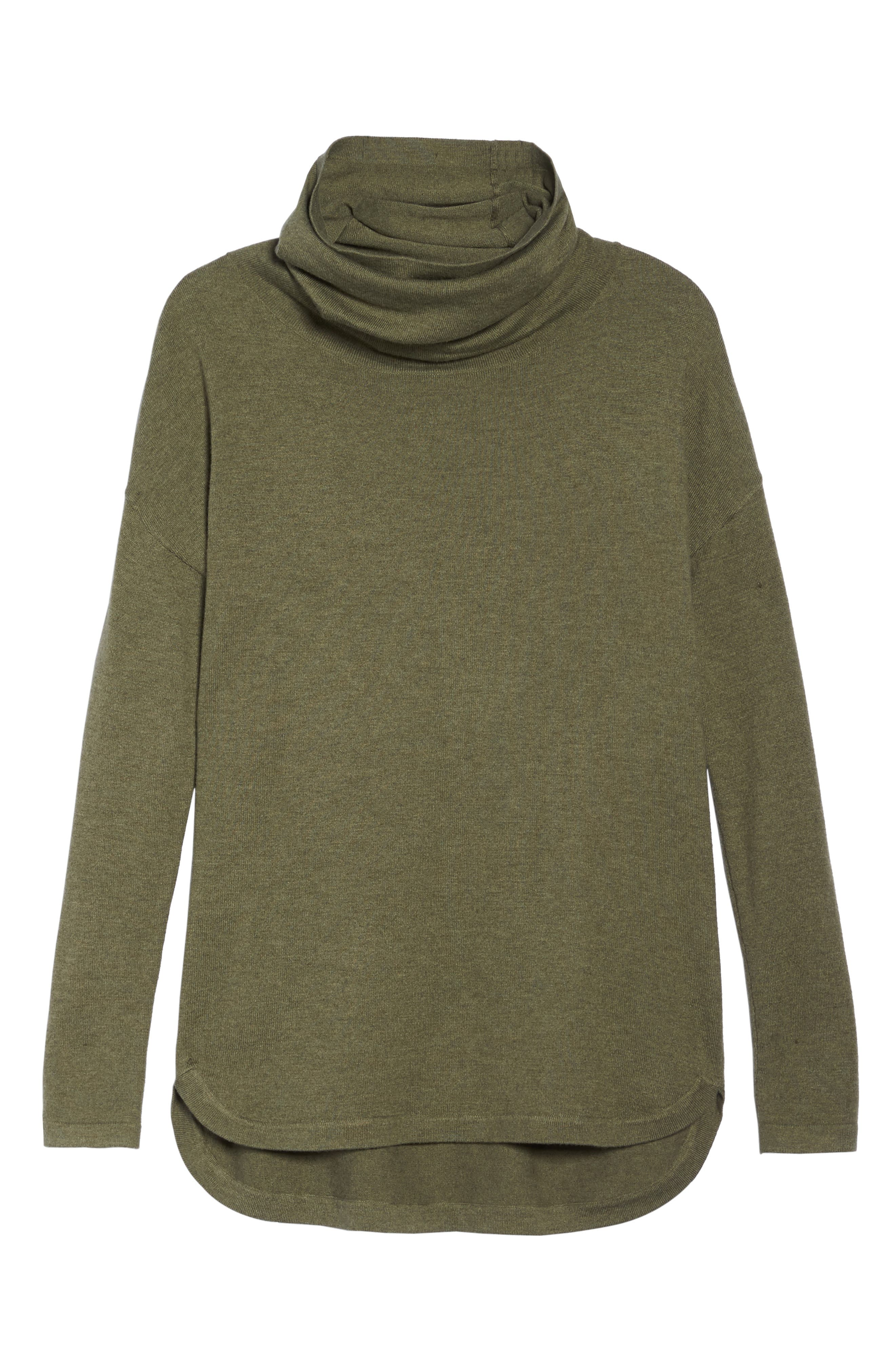 Woodland Tunic Sweater,                             Alternate thumbnail 7, color,                             Burnt Olive Green Heather