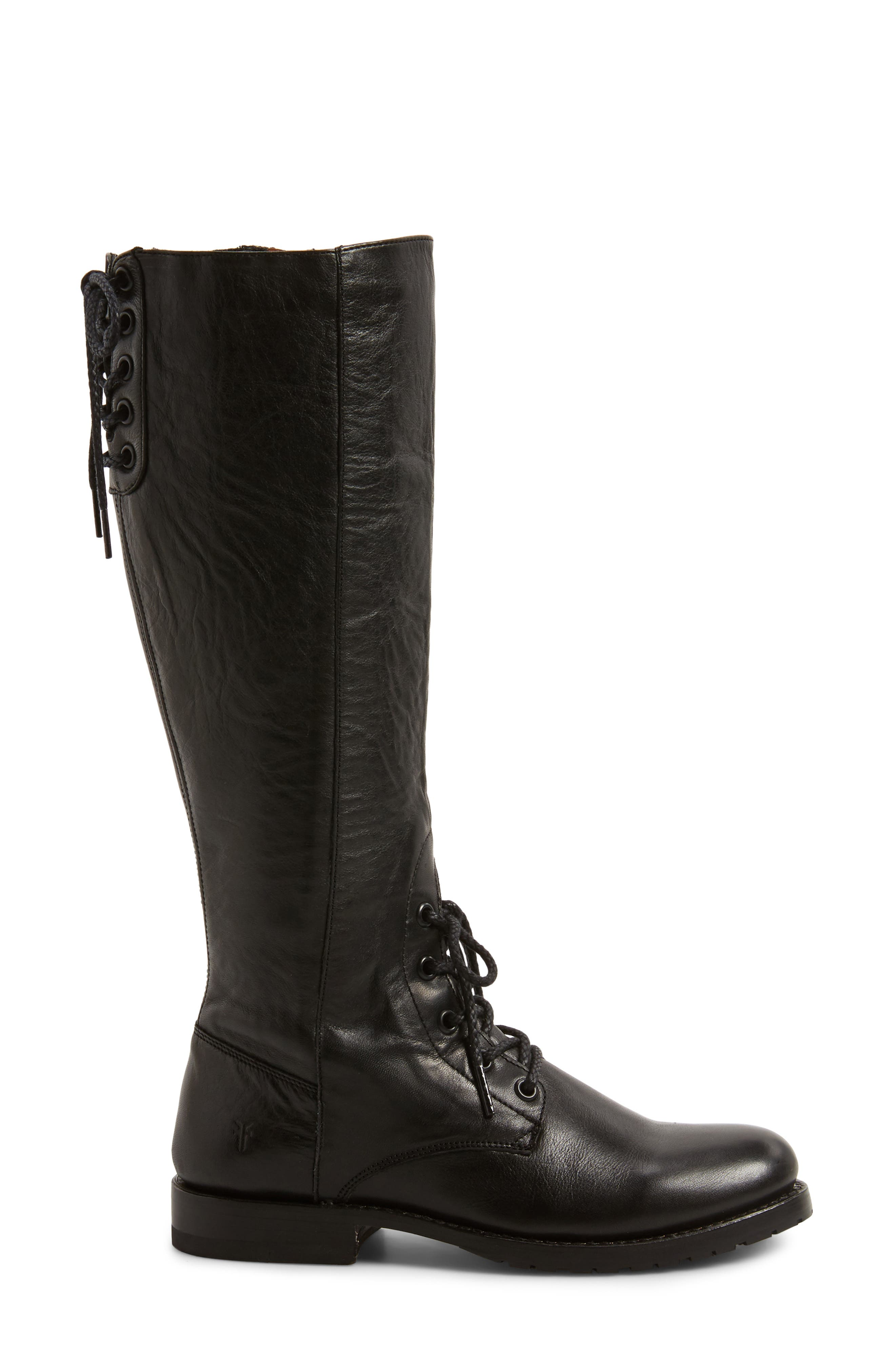 Natalie Knee High Combat Boot,                             Alternate thumbnail 3, color,                             Black